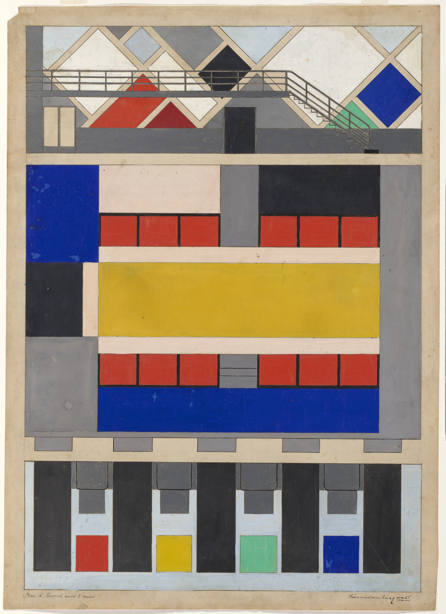 Theo van Doesburg (Christian Emil Marie Küpper). Preliminary color scheme for floor and long walls of dance hall in Café Aubette, Strasbourg, France. 1927