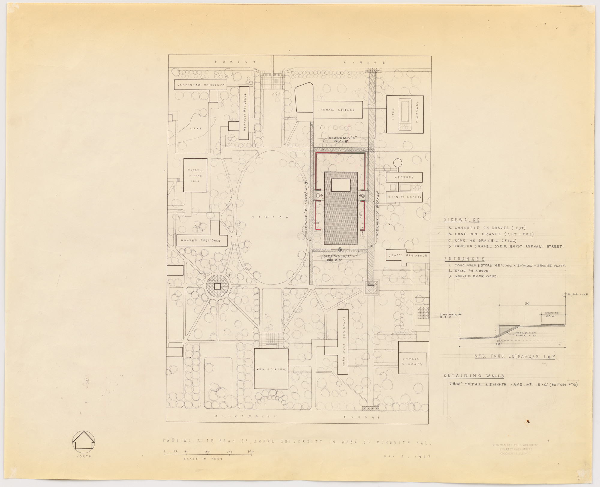 Ludwig Mies van der Rohe. Meredith Memorial Hall, Drake University, Des Moines, IA (Partial site plan). 1962–1965