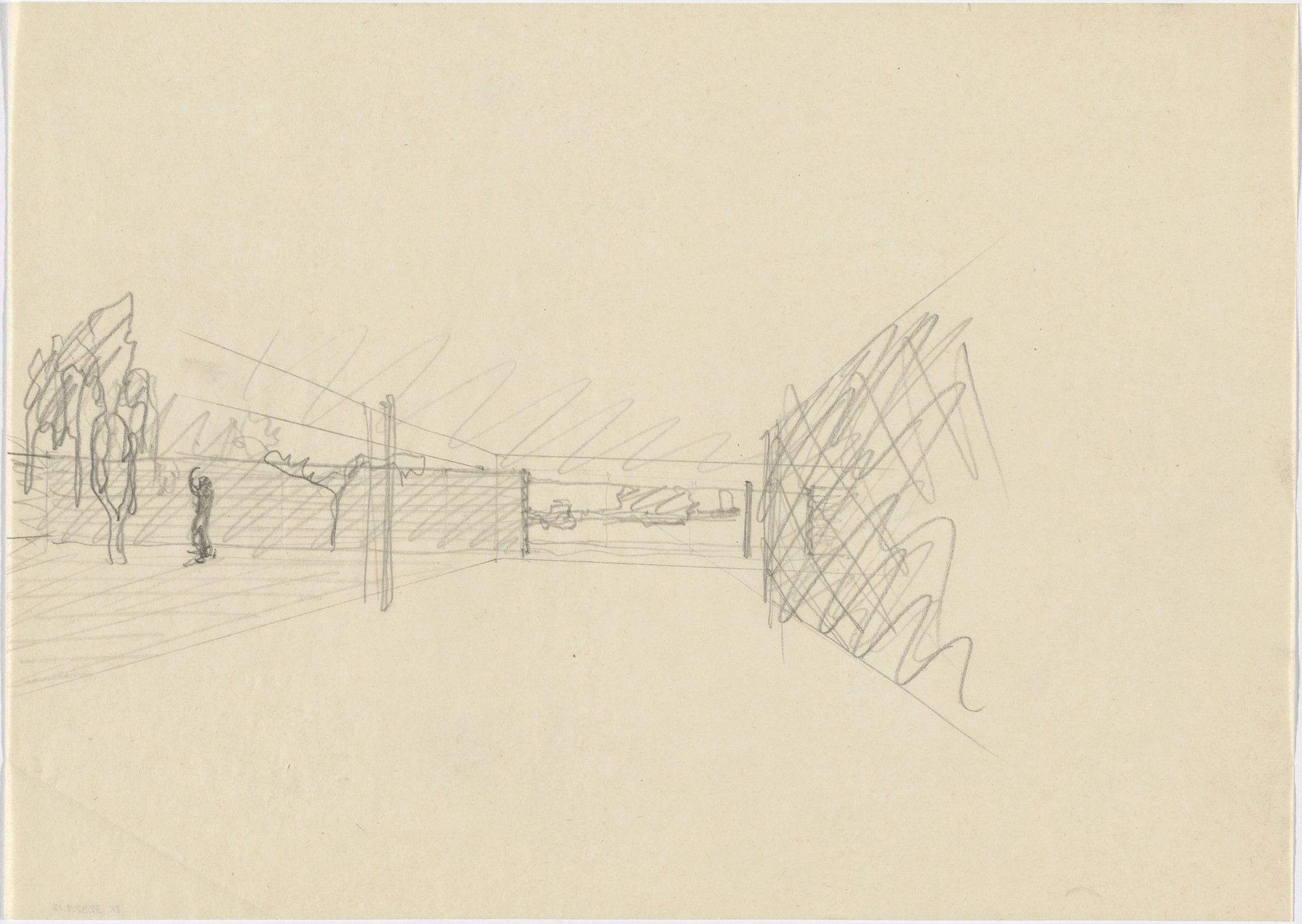 Ludwig Mies van der Rohe. Ulrich Lange House Project, Krefeld, Germany (Perspective sketch). 1935