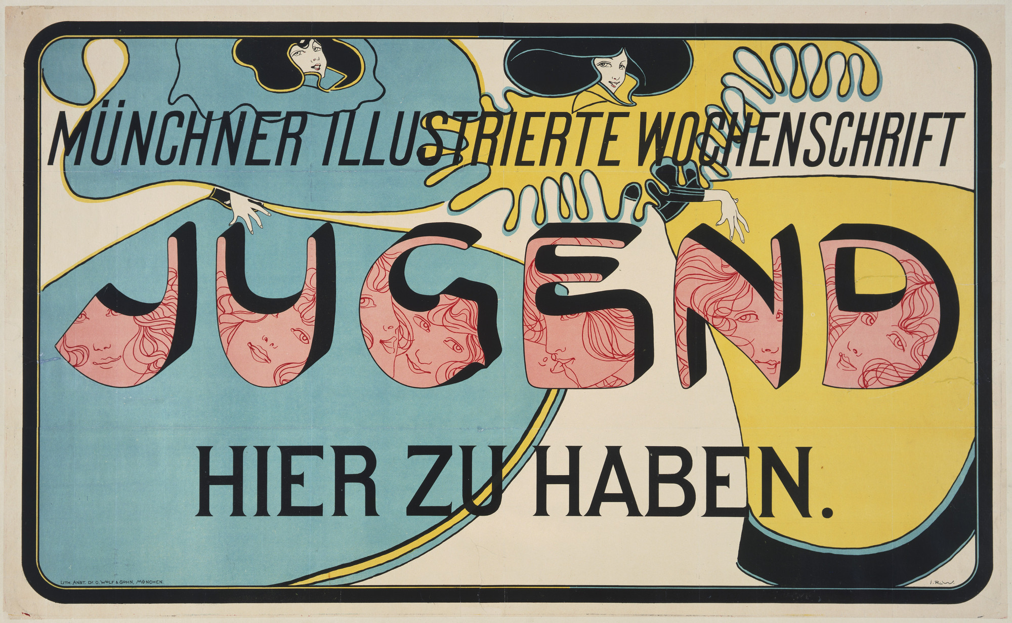 "Josef Rudolf Witzel. Münchner Illustrierte Wochenschrift, Jugend, Hier Zu Haben (Münich illustrated weekly magazine ""Youth"" on sale here). 1896"