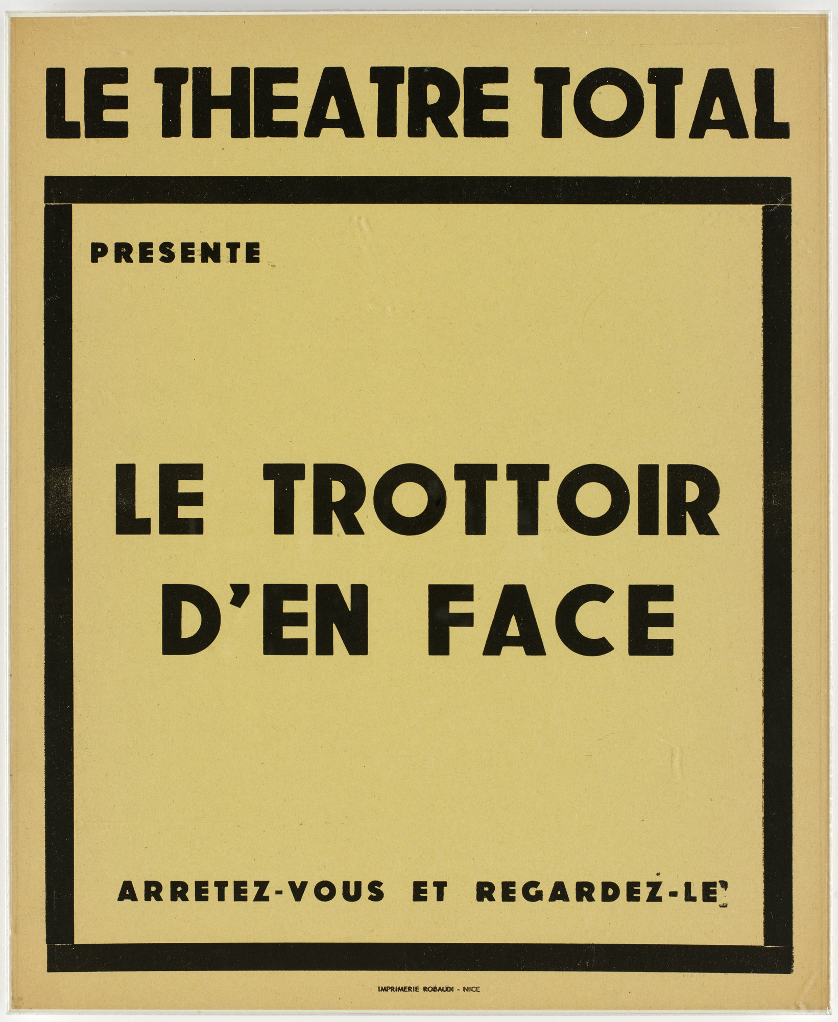 Ben Vautier. Poster for Le Trottoir d'en face. c. 1962