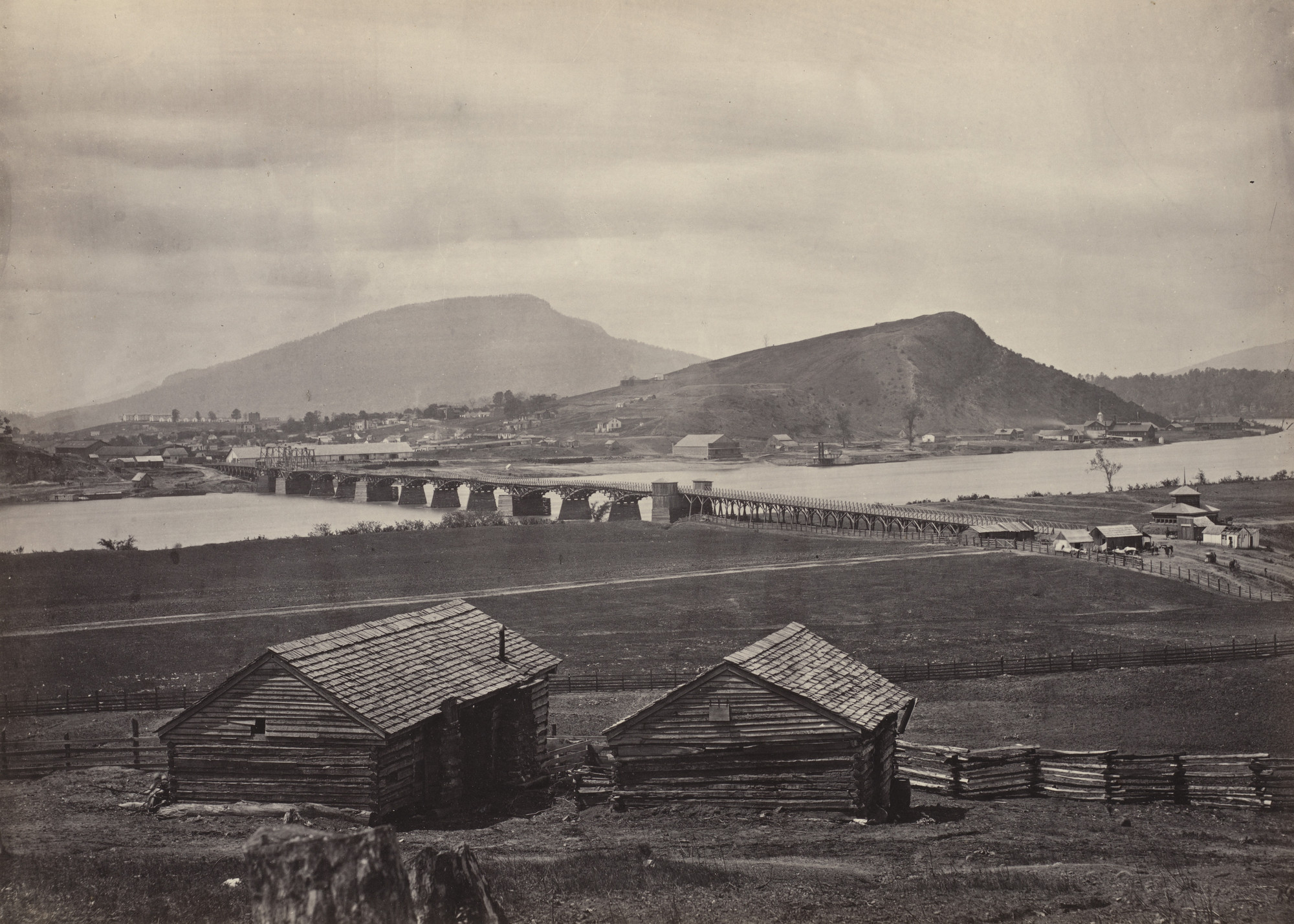 George Barnard. Chattanooga, from the North from the album Photographic Views of Sherman's Campaign. 1864-65