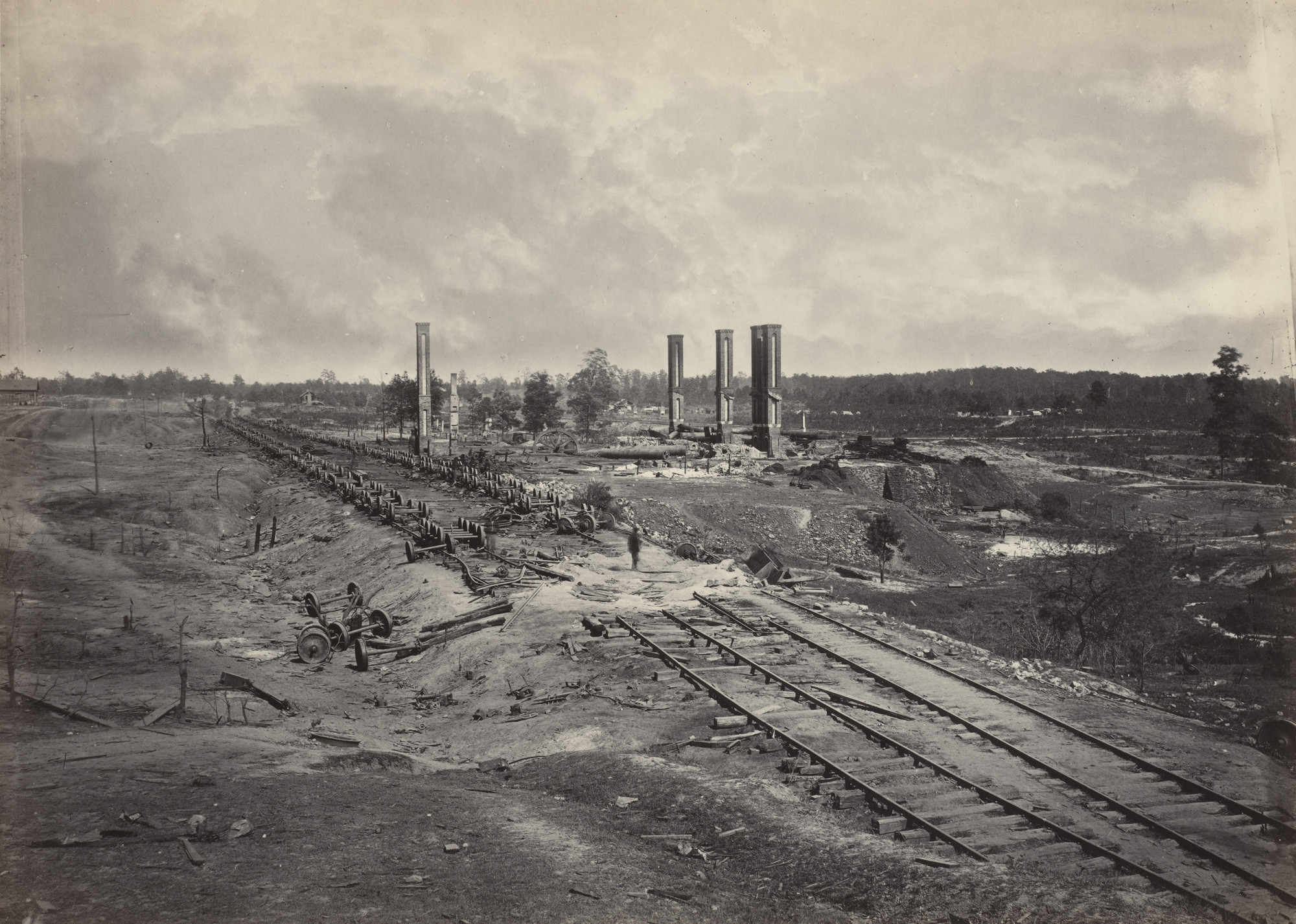 George Barnard. Destruction of Hood's Ordnance Train from the album Photographic Views of Sherman's Campaign(1866). 1864-65