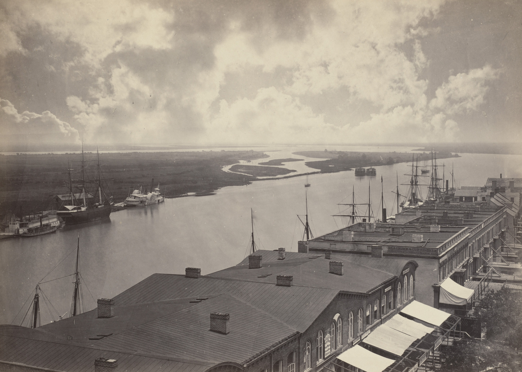 George Barnard. Savannah, Looking down the River from the album Photographic Views of Sherman's Campaign. 1864-65