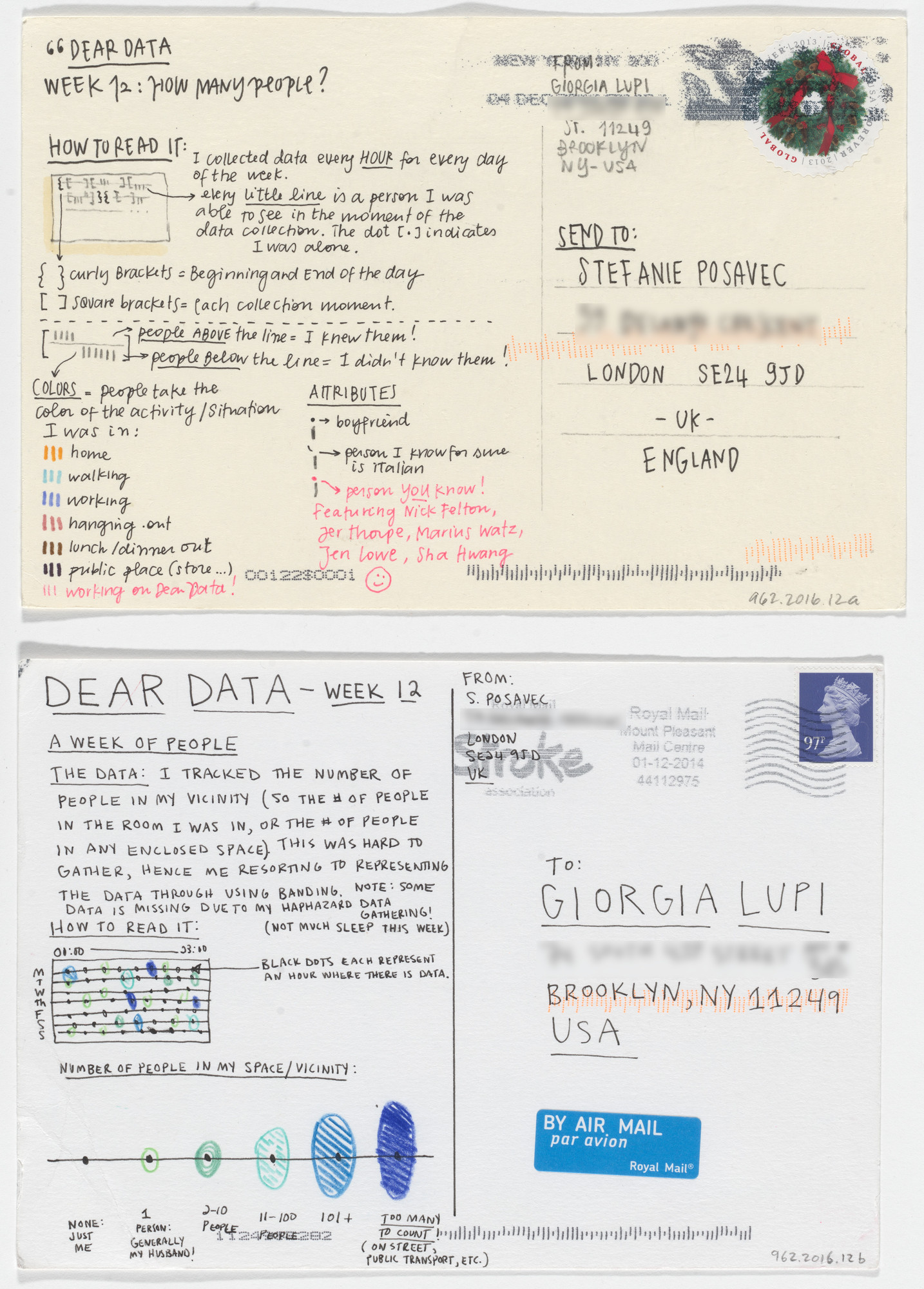 Giorgia Lupi, Stefanie Posavec. Dear Data: Week 12 (How Many People / A Week of People). 2014