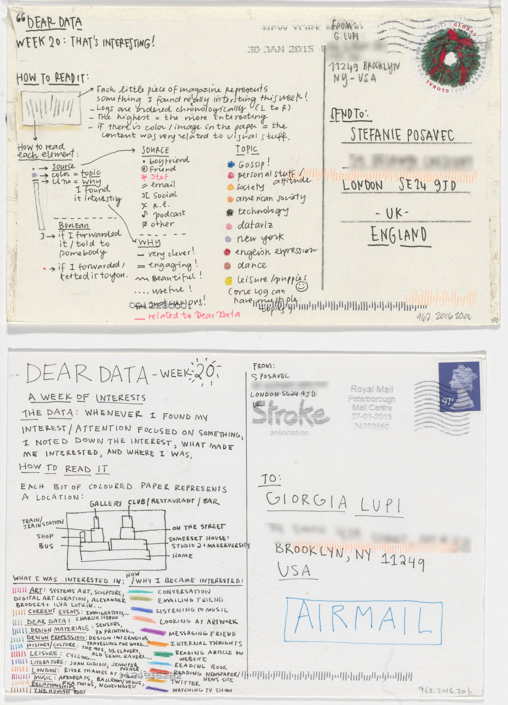 Giorgia Lupi, Stefanie Posavec. Dear Data: Week 20 (That's Interesting / A Week of Interests). 2015