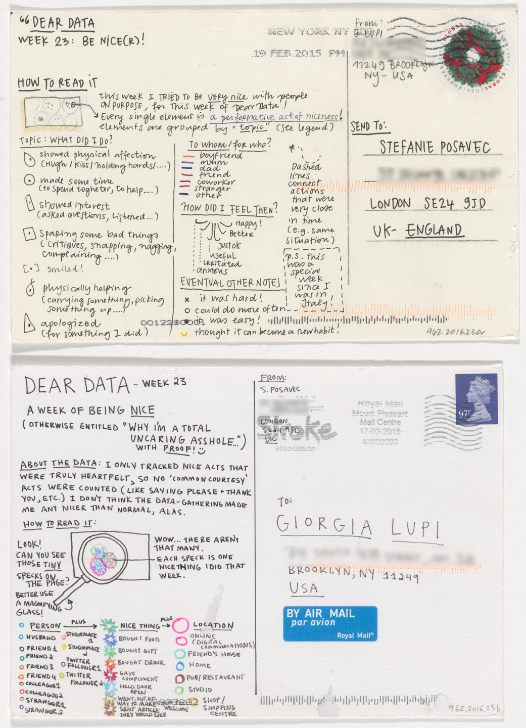 Giorgia Lupi, Stefanie Posavec. Dear Data: Week 23 (Be Nice[r] / A Week of Being Nice). 2015