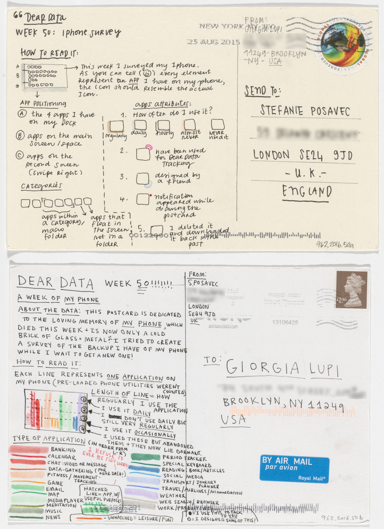 Giorgia Lupi, Stefanie Posavec. Dear Data: Week 50 (iPhone Survey / A Week of My Phone). 2015