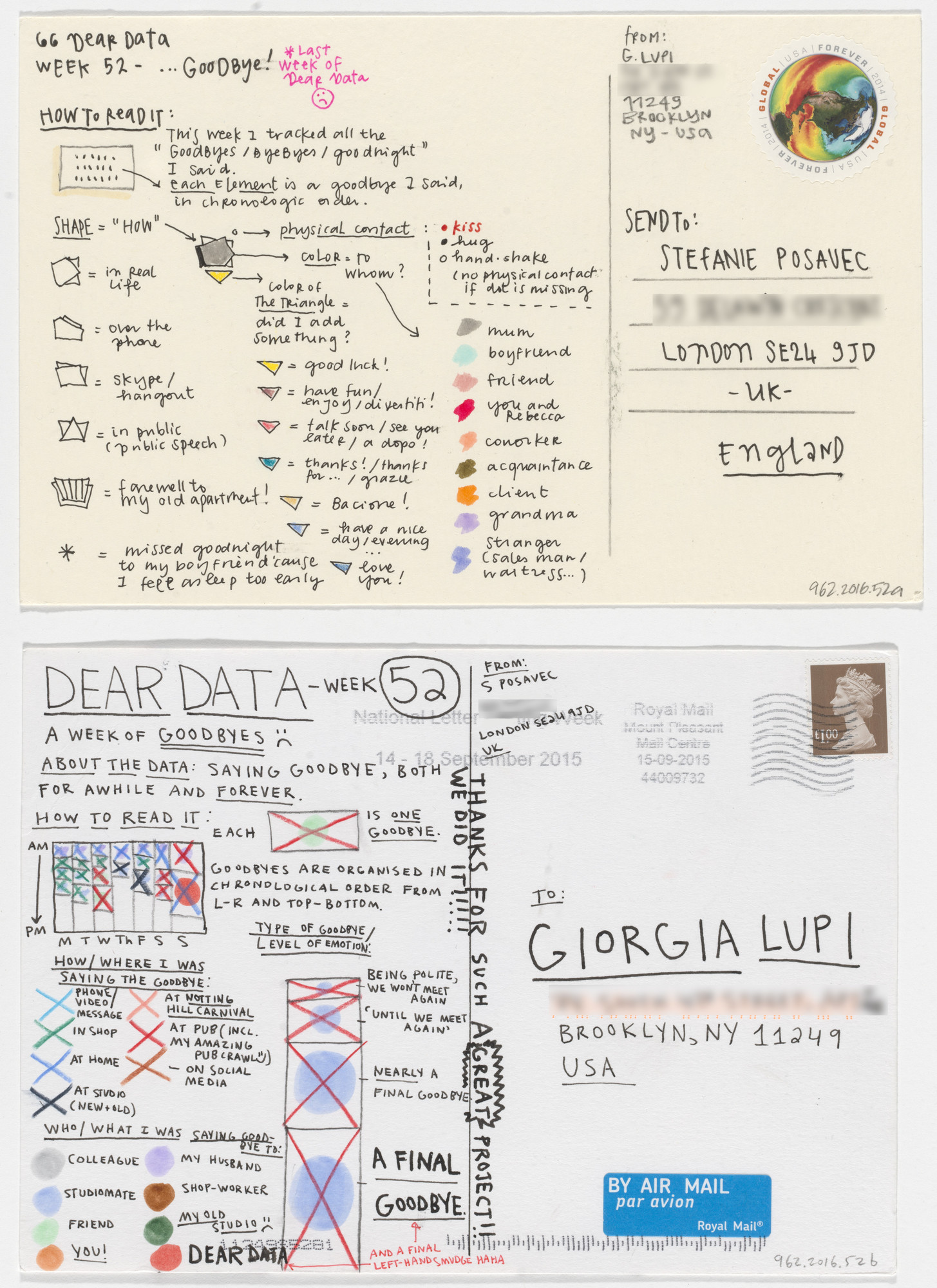 Giorgia Lupi, Stefanie Posavec. Dear Data: Week 52 (Goodbye / A Week of Goodbyes). 2015