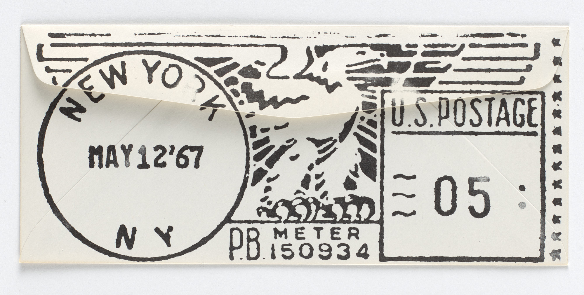 Robert Watts. Giant Stamp Imprint Envelope. c. 1973