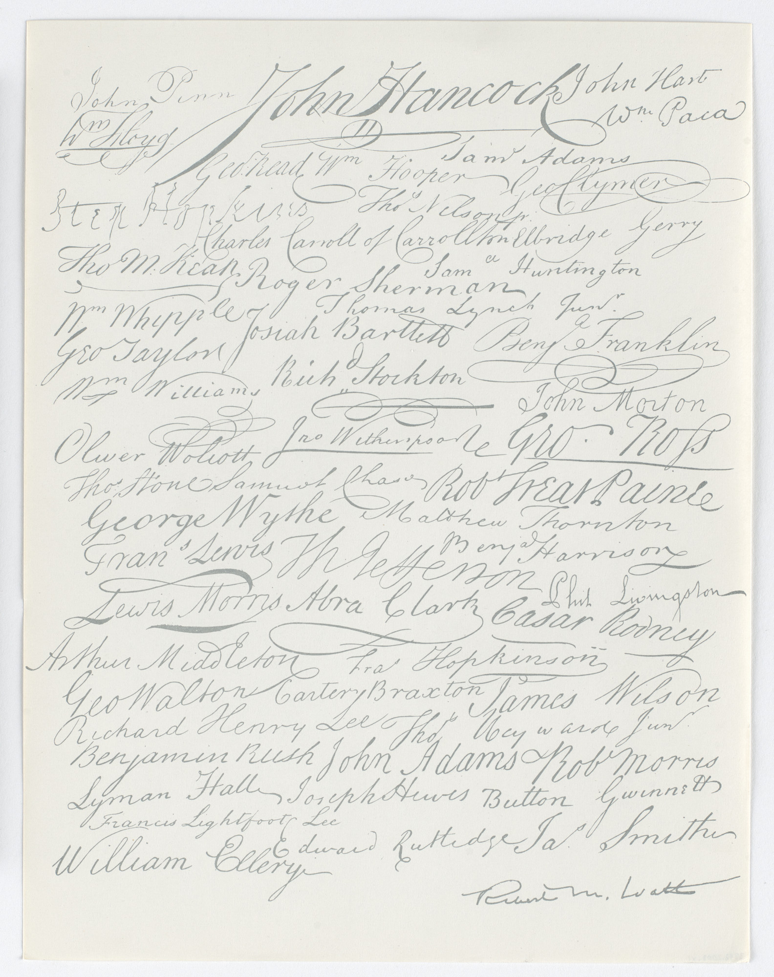 Robert Watts. Signers of the Declaration of Independence Letter Paper. c. 1973