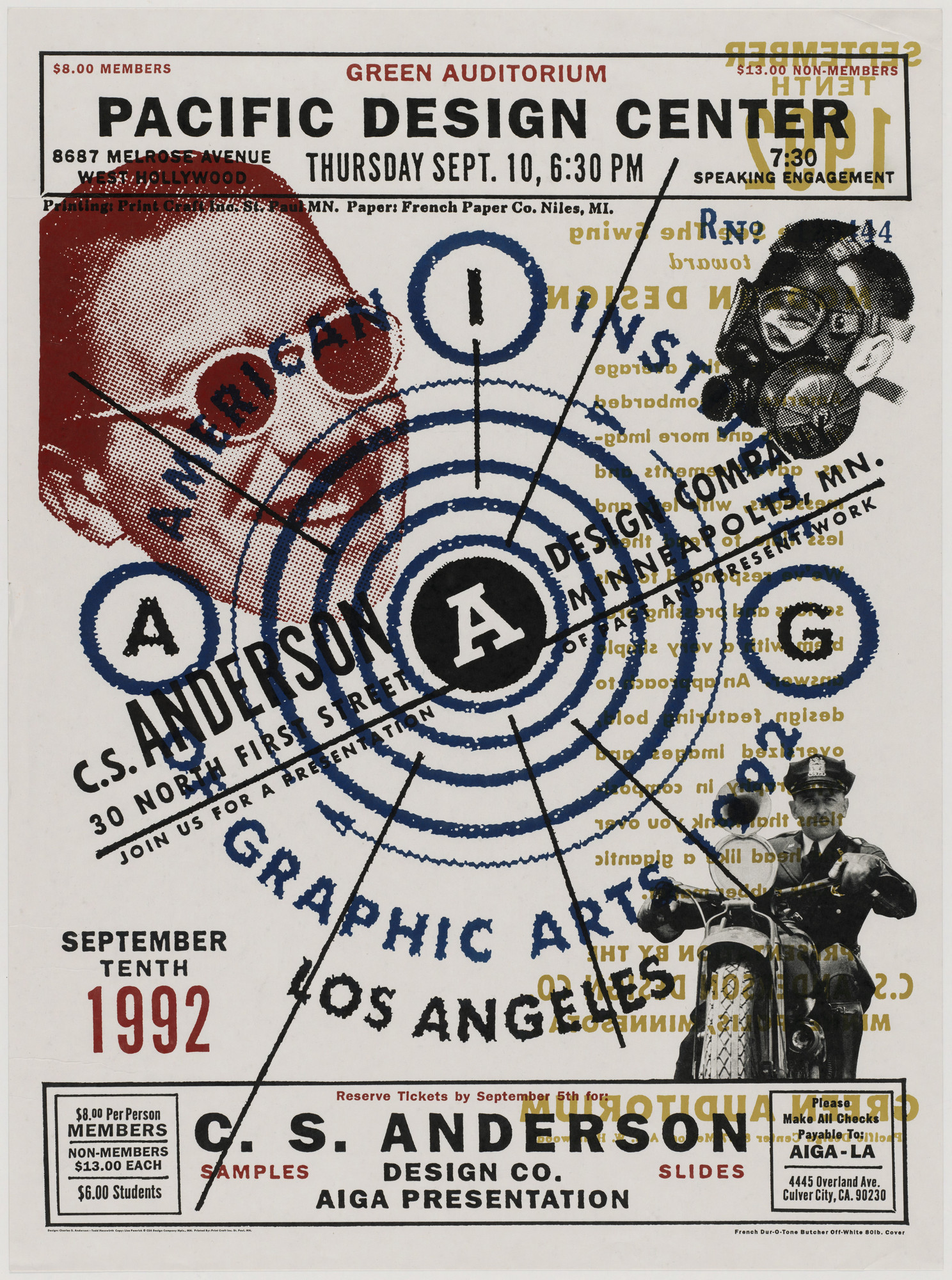 Charles S. Anderson, Todd Piper-Hauswirth. Pacific Design Center - AIGA LA Presentation Poster. August 1992