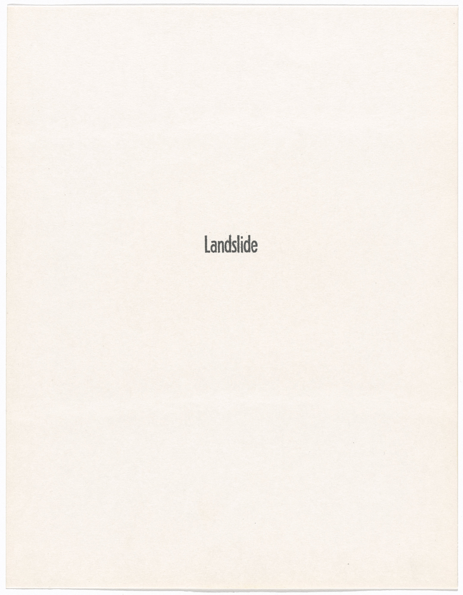 William Leavitt, Bas Jan Ader. Landslide, no. 1. 1969