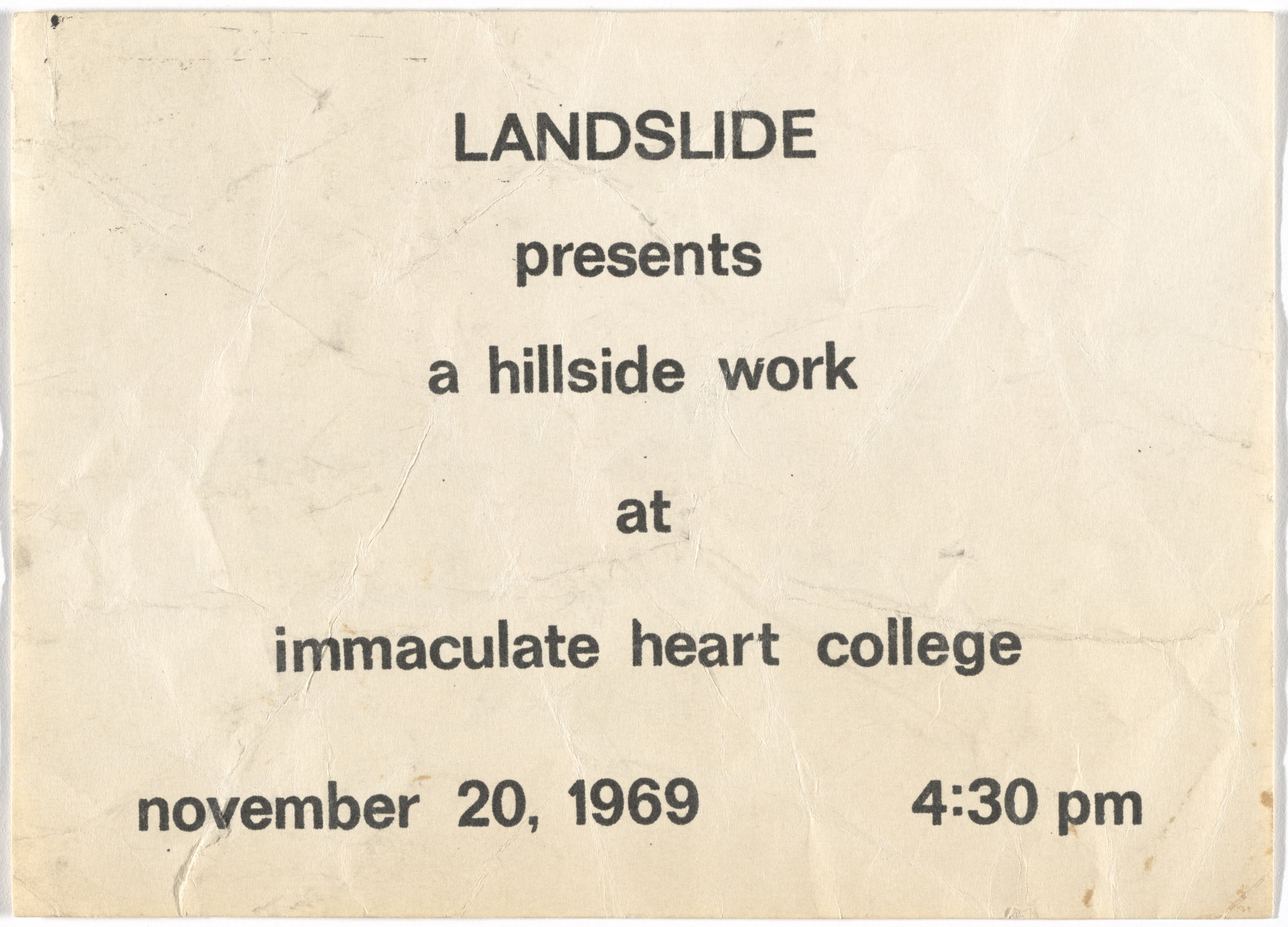 William Leavitt, Bas Jan Ader. Announcement for Hillside. 1969