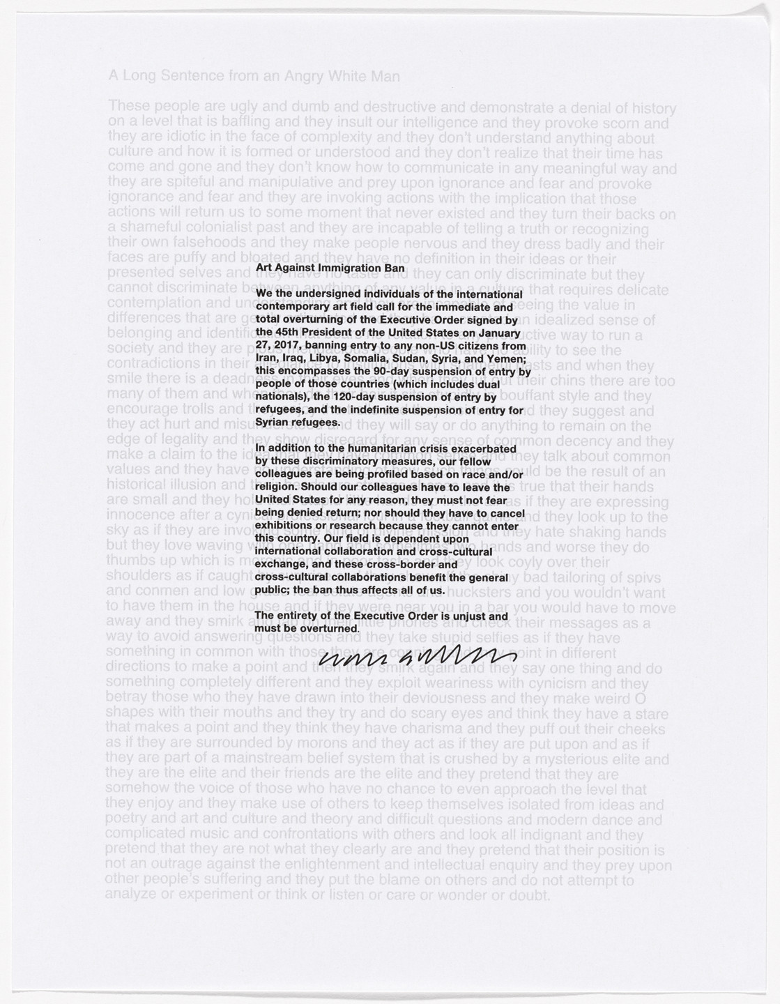 Liam Gillick. Untitled from Art Against Immigration Ban Letter Portfolio. 2017