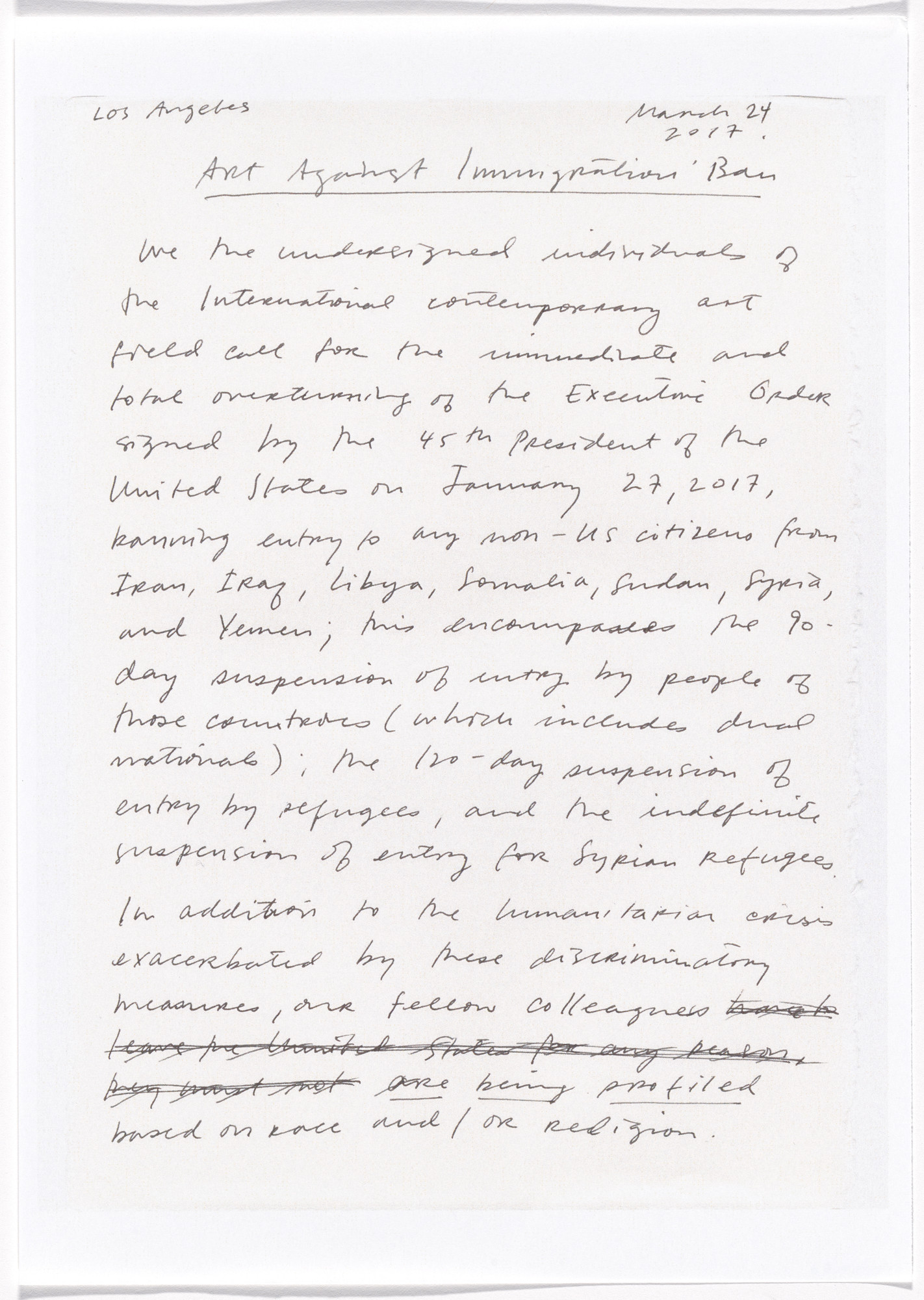 Julie Mehretu. Untitled from Art Against Immigration Ban Letter Portfolio. 2017