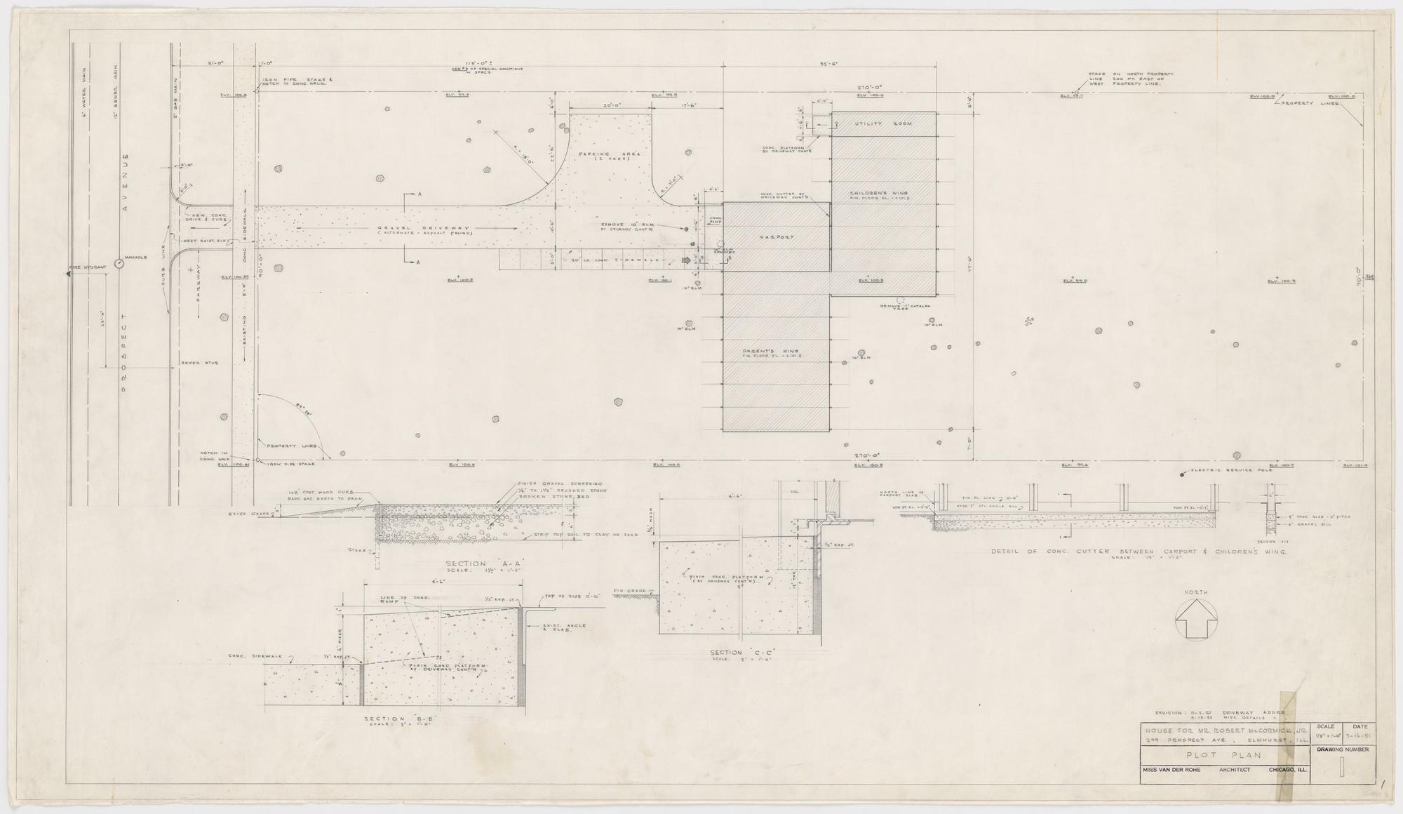 Ludwig Mies van der Rohe. Robert H. McCormick House, Elmhurst, IL ...
