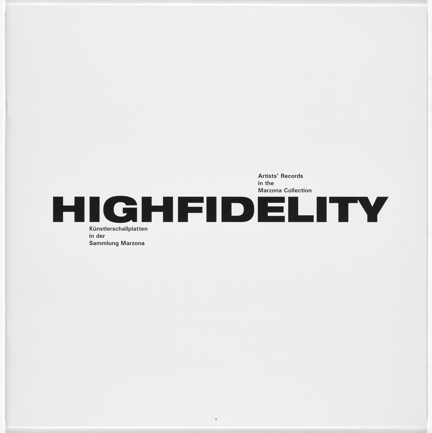 John Cage, Terry Fox, Various Artists. HighFidelity. 2008