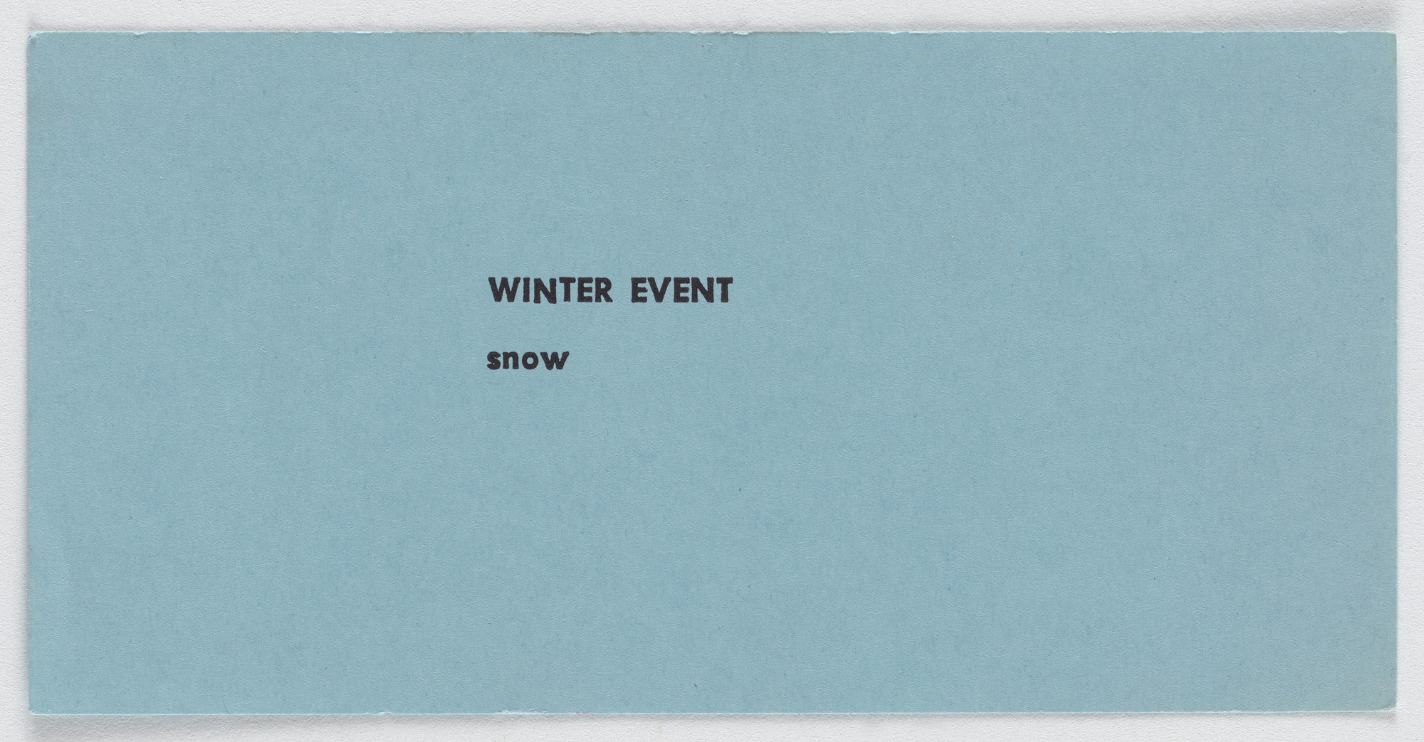 Robert Watts. Winter Event. c. 1962