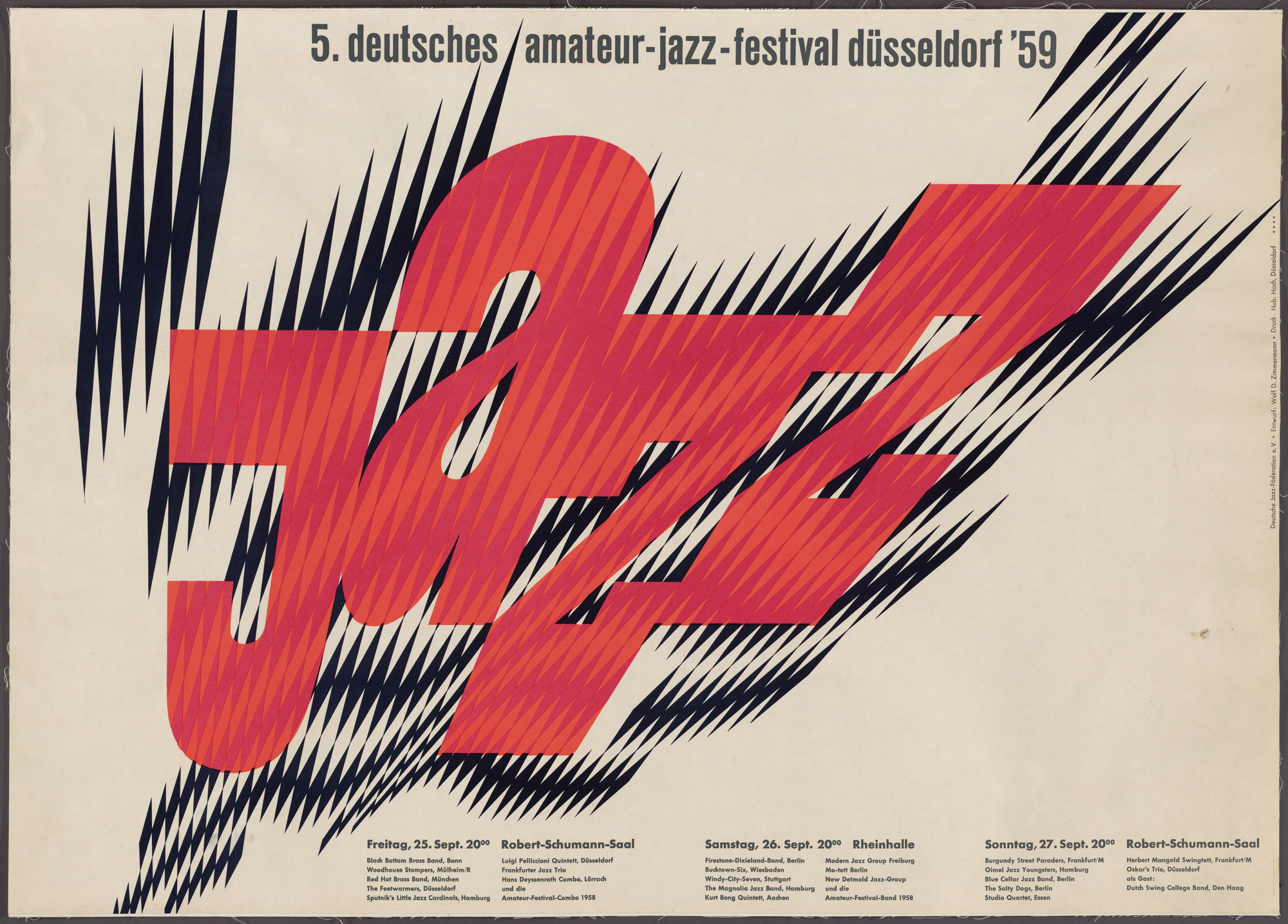 Wolf Zimmerman. Jazz 5 (Poster for the 5th German Amateur Jazz Festival held in Dusseldorf, Germany). 1959