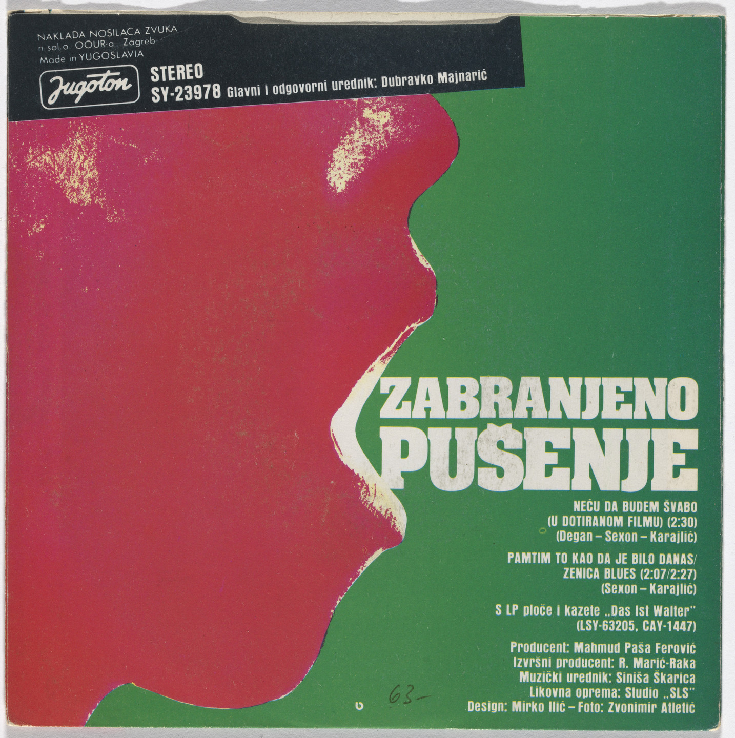 Mirko Ilić, Studio SLS, Zagreb, Croatia, Zvonimir Atletić. Cover for Zabranjeno pušenje (No Smoking) single 'Neću da budem švabo u dotiranom filmu' ('I Don't Want to Be a Kraut'). 1984