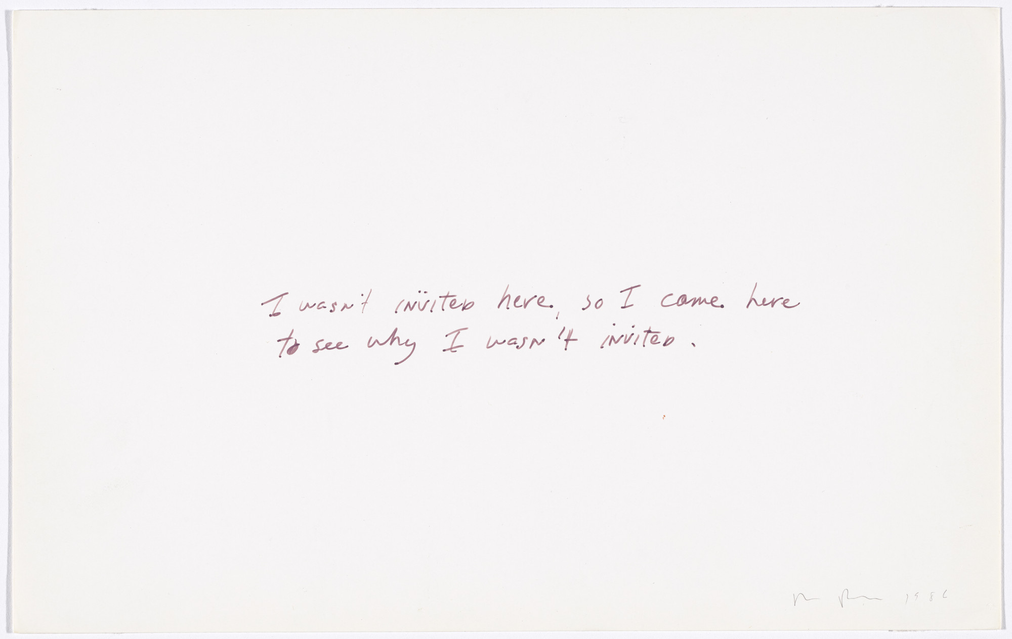 "Richard Prince. Untitled (""I wasn't invited here...""). 1986"
