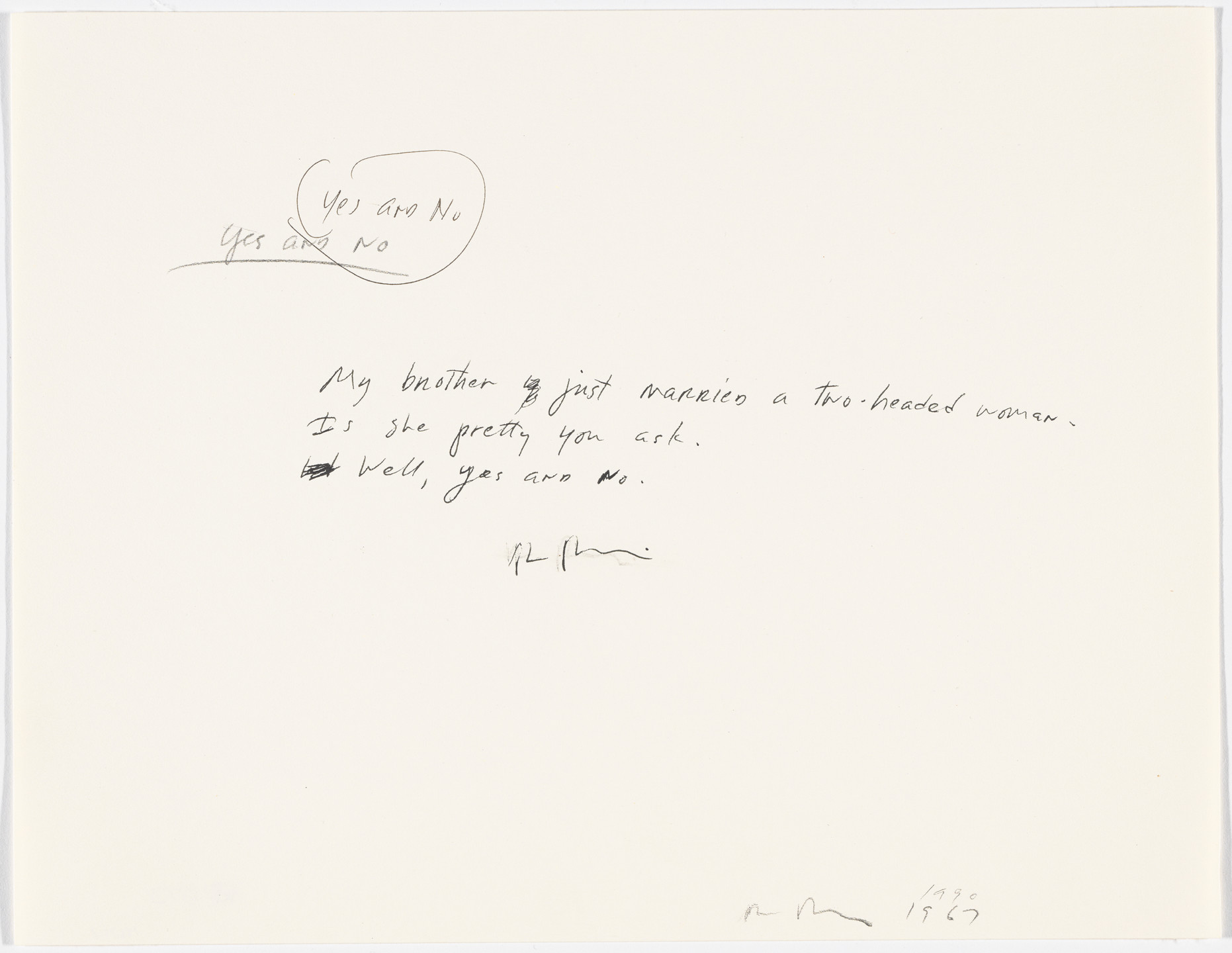 "Richard Prince. Untitled (""My brother...""). 1967 and 1990"