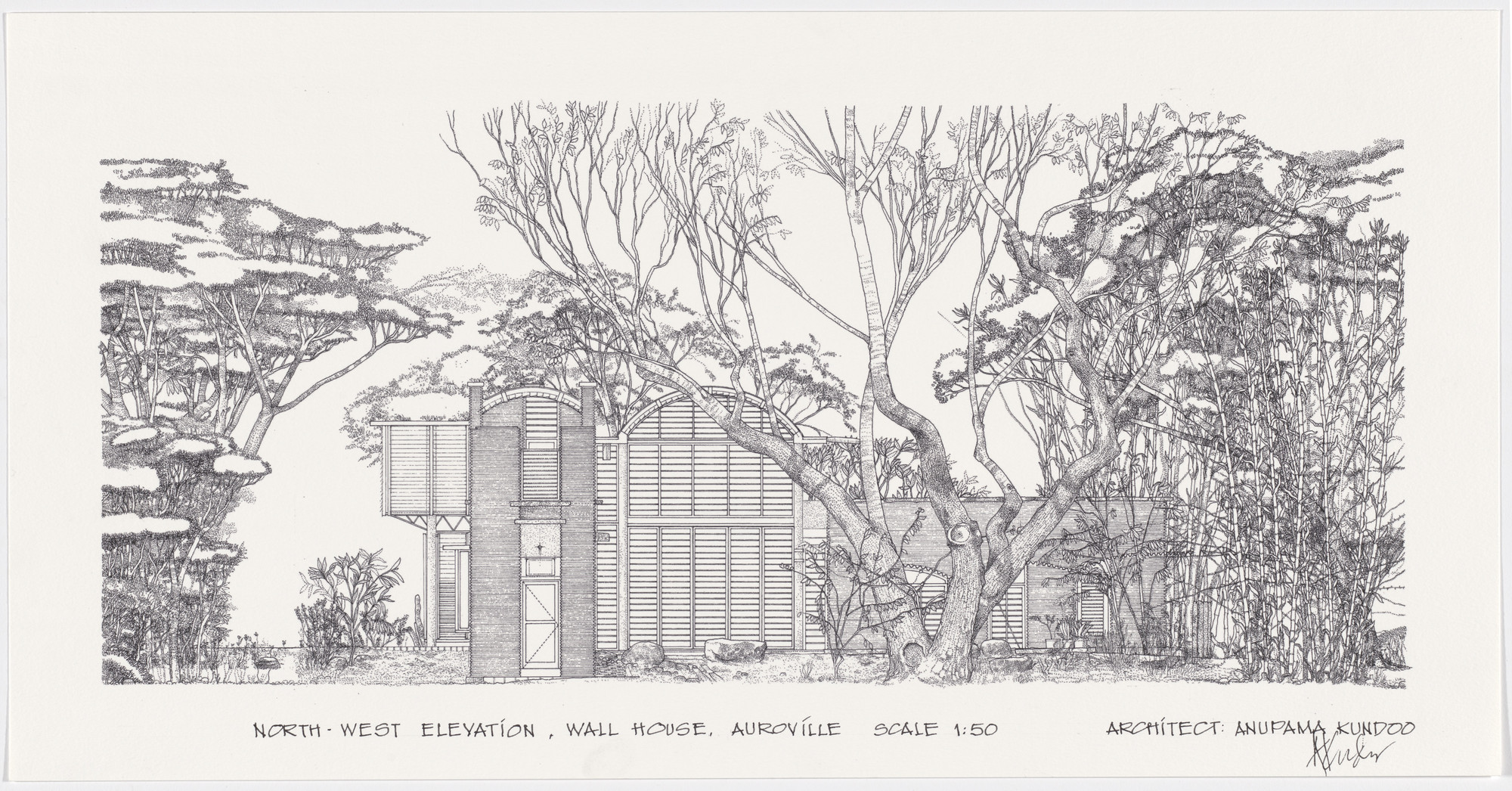 Anupama Kundoo. Wall House, Auroville, India (Section). 1997–2000