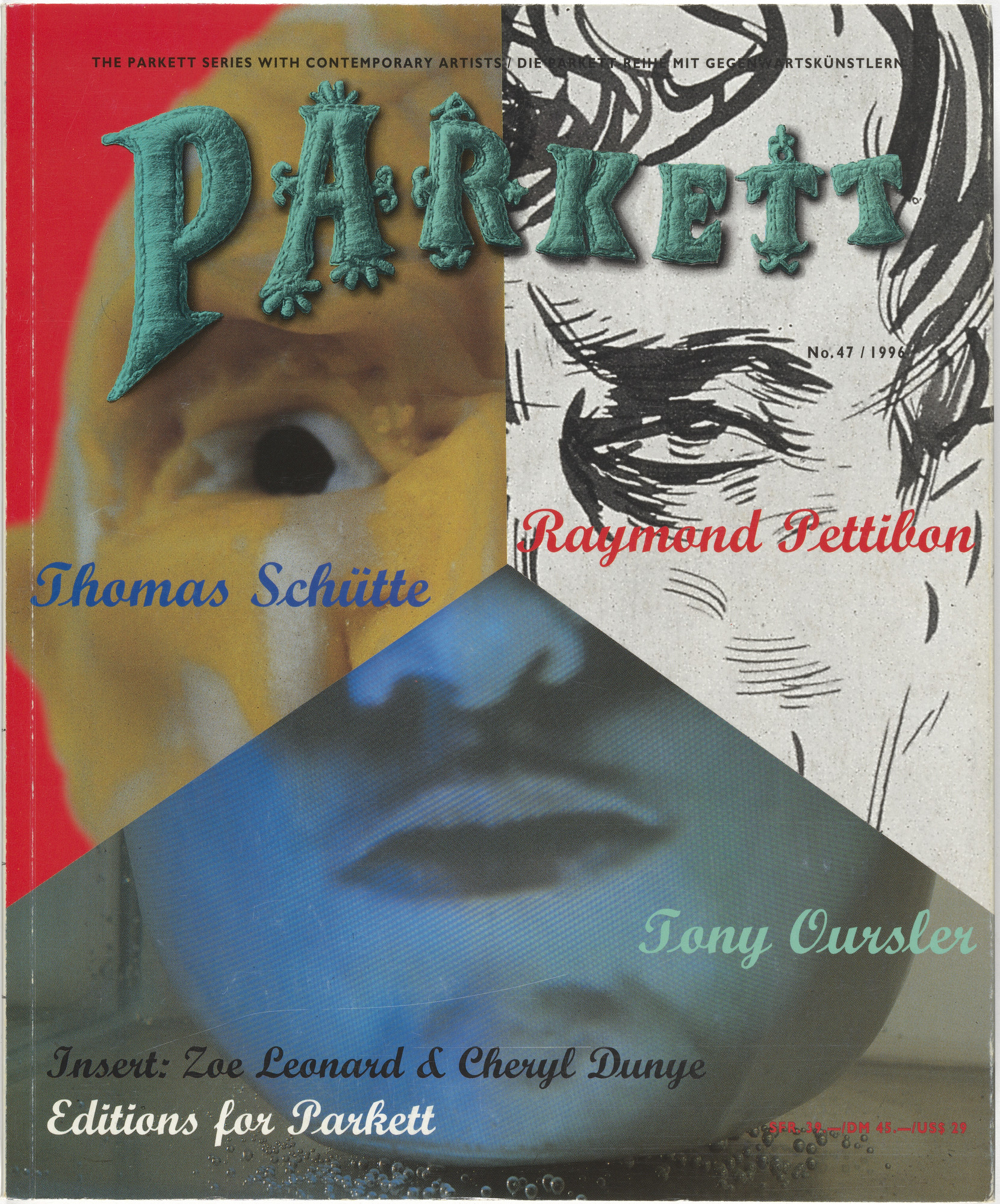 Various Artists, Tony Oursler, Raymond Pettibon, Thomas Schütte. Parkett no. 47. 1996