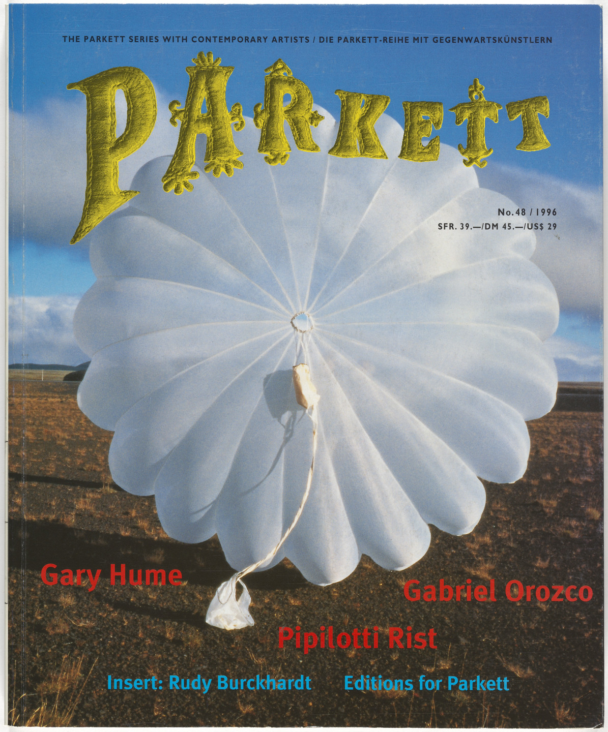 Gary Hume, Gabriel Orozco, Pipilotti Rist, Rudy Burckhardt, Various Artists. Parkett no. 48. 1996