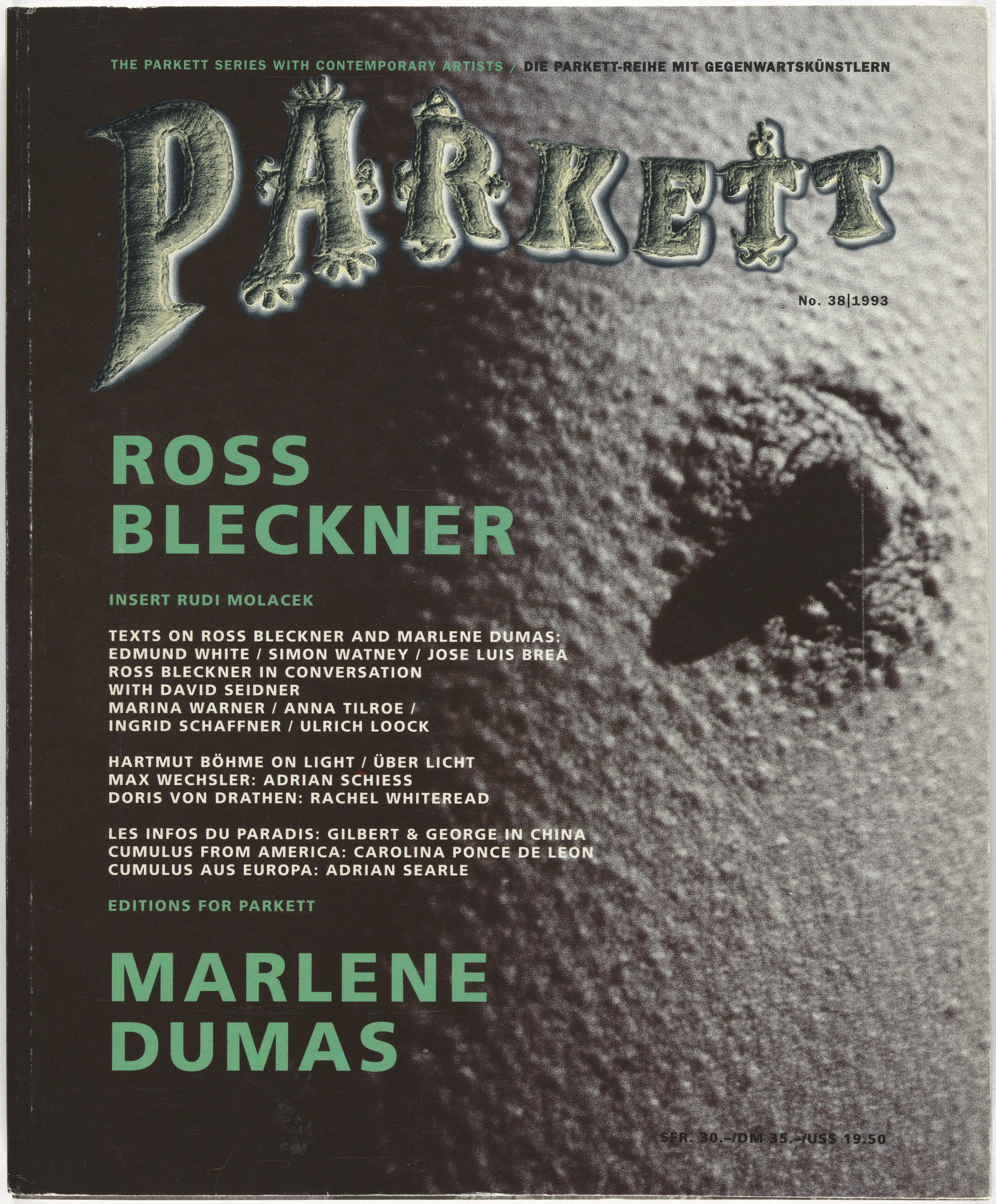 Ross Bleckner, Marlene Dumas, Rudi Molacek, Jean-Jacques Rullier, Various Artists. Parkett no. 38. 1993