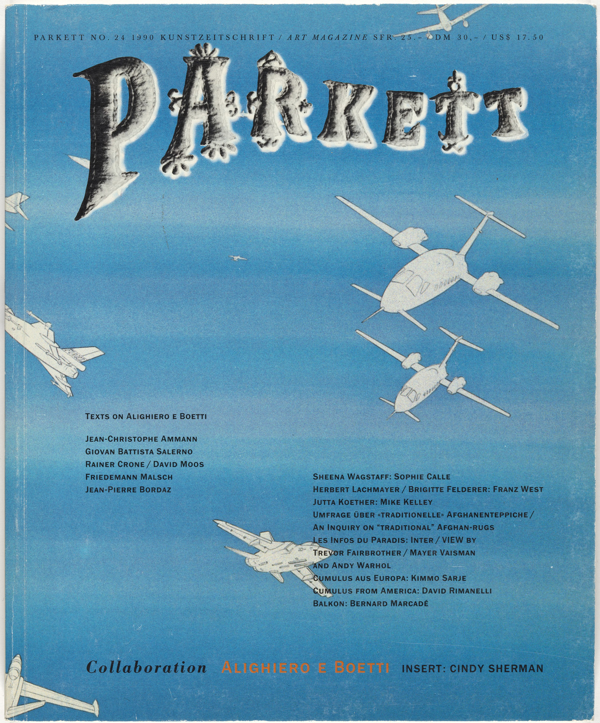 Alighiero Boetti, Cindy Sherman, André Thomkins, Various Artists. Parkett no. 24. 1990