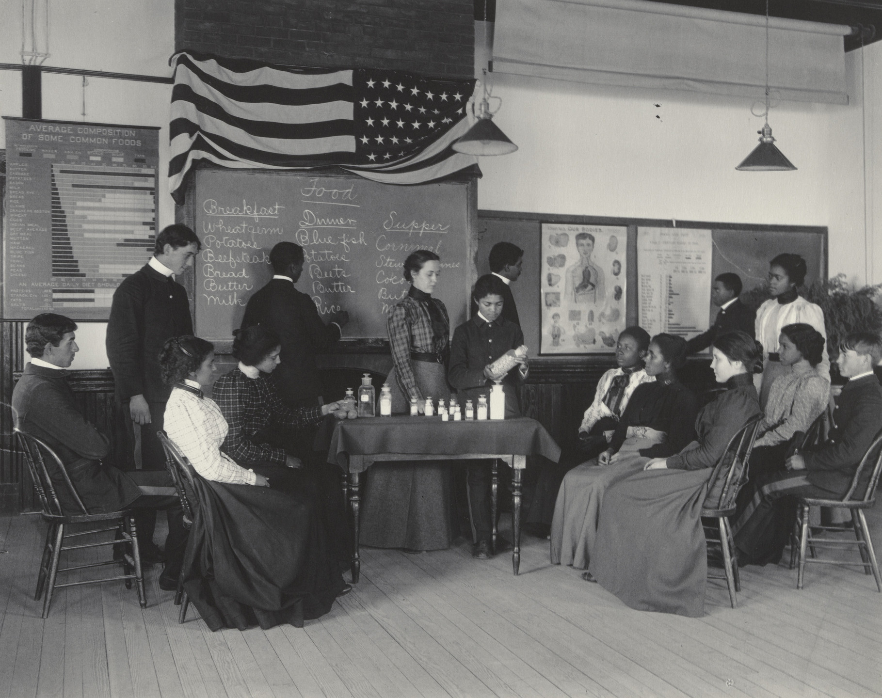Frances Benjamin Johnston. Physiology. Class studying foods. 1899-1900