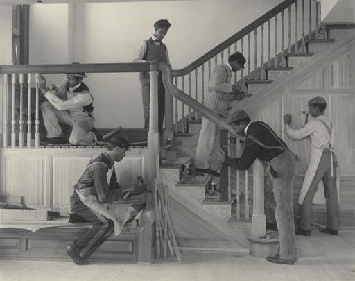 Frances Benjamin Johnston. Stairway of the Treasurer's Residence: Students at Work from the Hampton Album. 1899-1900