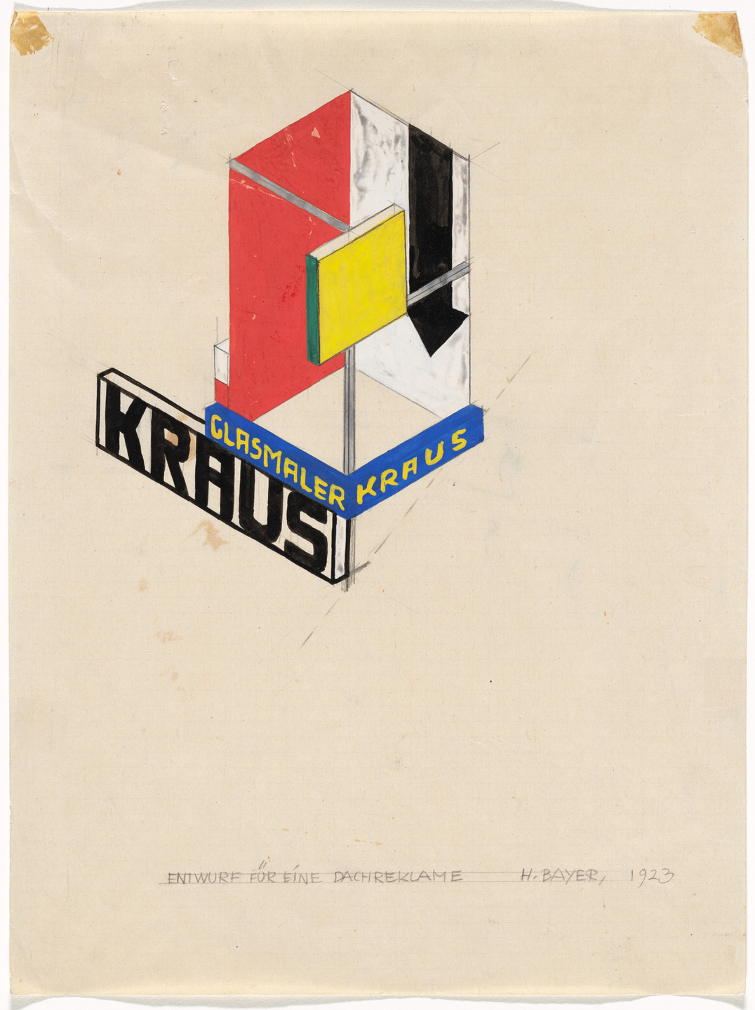 Herbert Bayer. Roof Advertisement (Dachreklame). Promotional design for glass painter Ernst Kraus. 1923