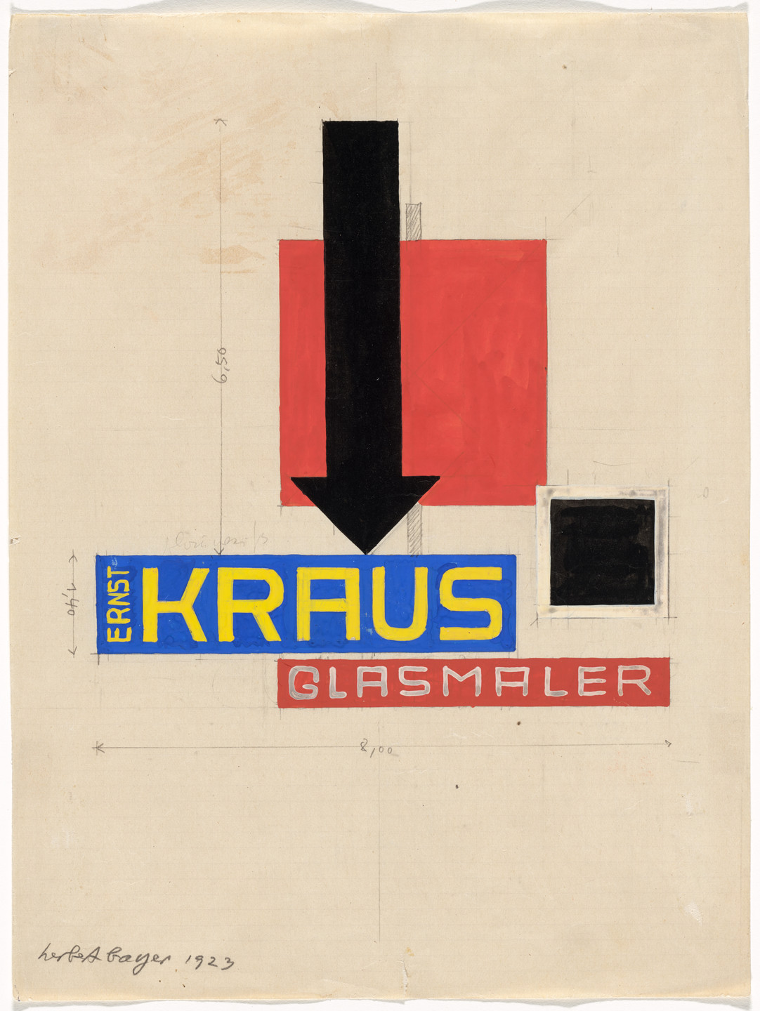 Herbert Bayer. Promotional design for glass painter Ernst Kraus. 1923