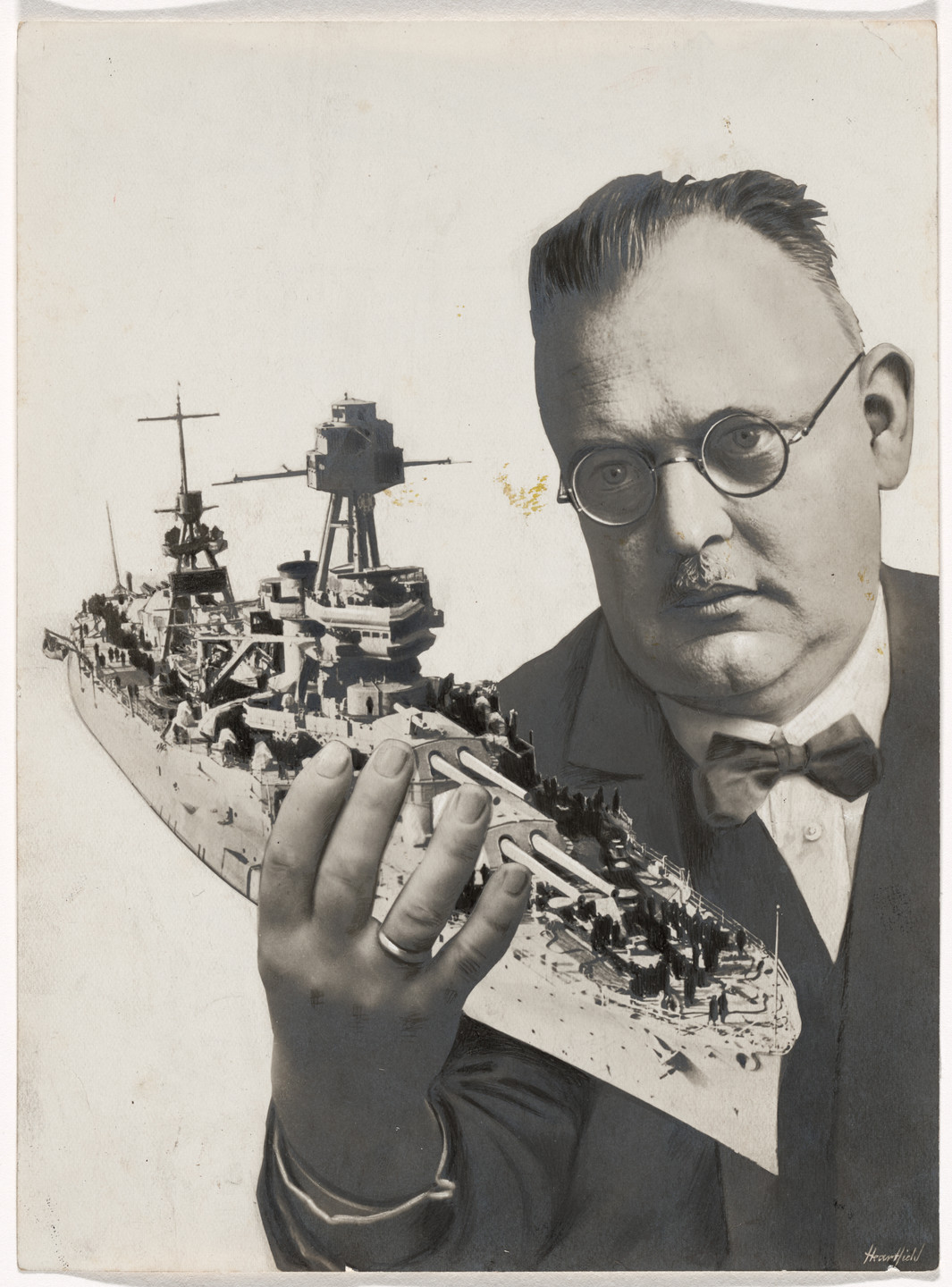 John Heartfield (born Helmut Herzfeld). Maquette for covers of the journal Die Rote Fahne (The red flag), vol. 11, no. 201, and the brochure Hurra! Der Panzerkreuzer A ist da! (Hooray! The battle cruiser A has arrived!). 1928