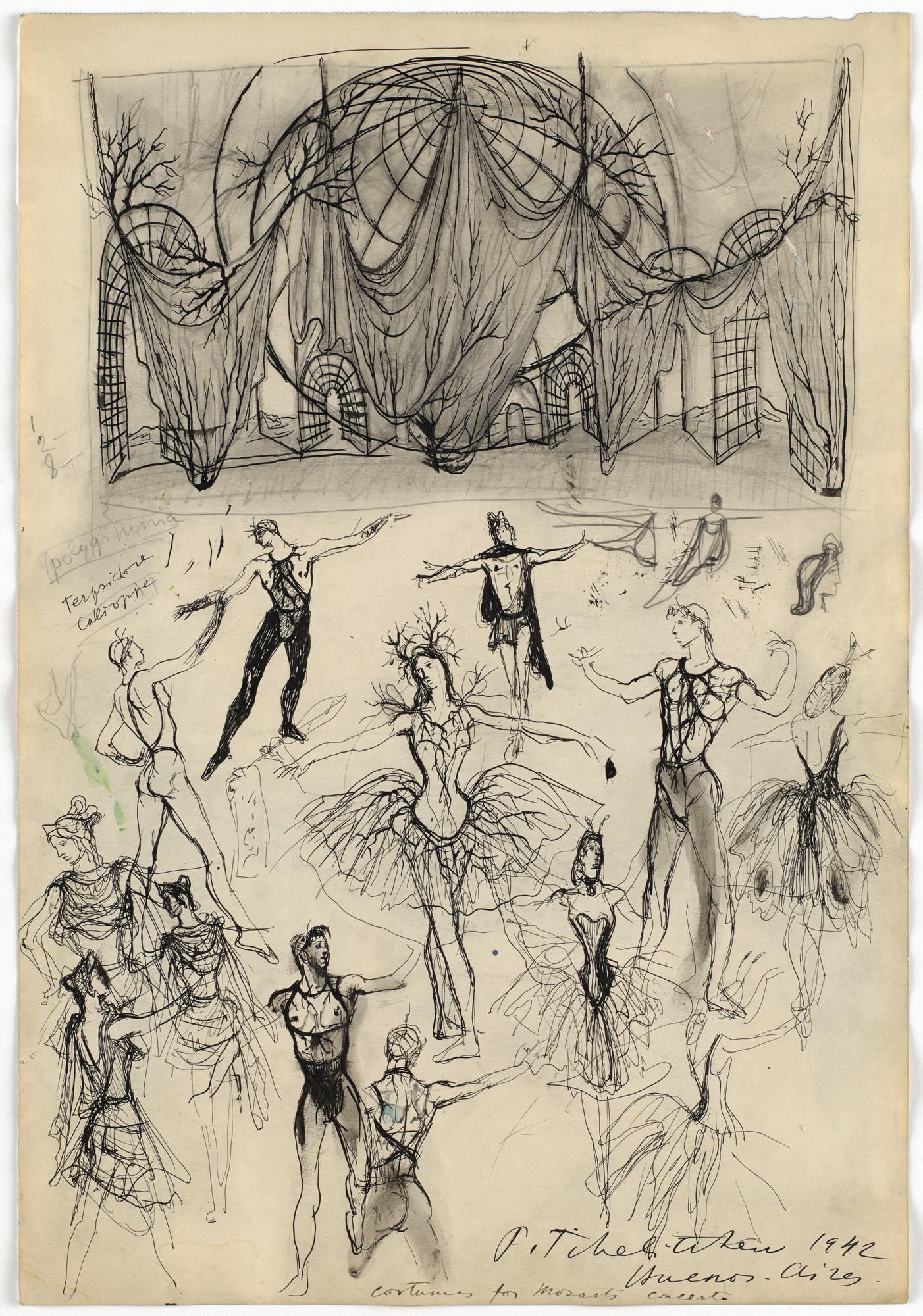 Pavel Tchelitchew. Set and costume designs for the ballet Mozart's Violin Concerto (Concierto de Mozart) and costume designs for the ballet Apollon Musagète. 1942