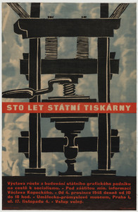 Sto Let Státní Tiskárny (A Century of State Printing) (Poster for exhibition of graphic design 'on the road to socialism,' held at the Museum of Applied Arts, Prague)