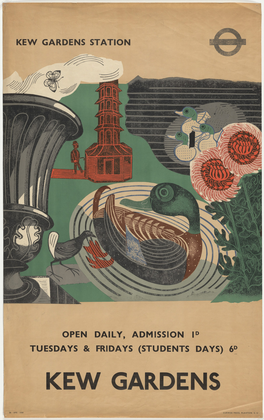 Edward Bawden. Kew Gardens (Poster for London Transport). 1936