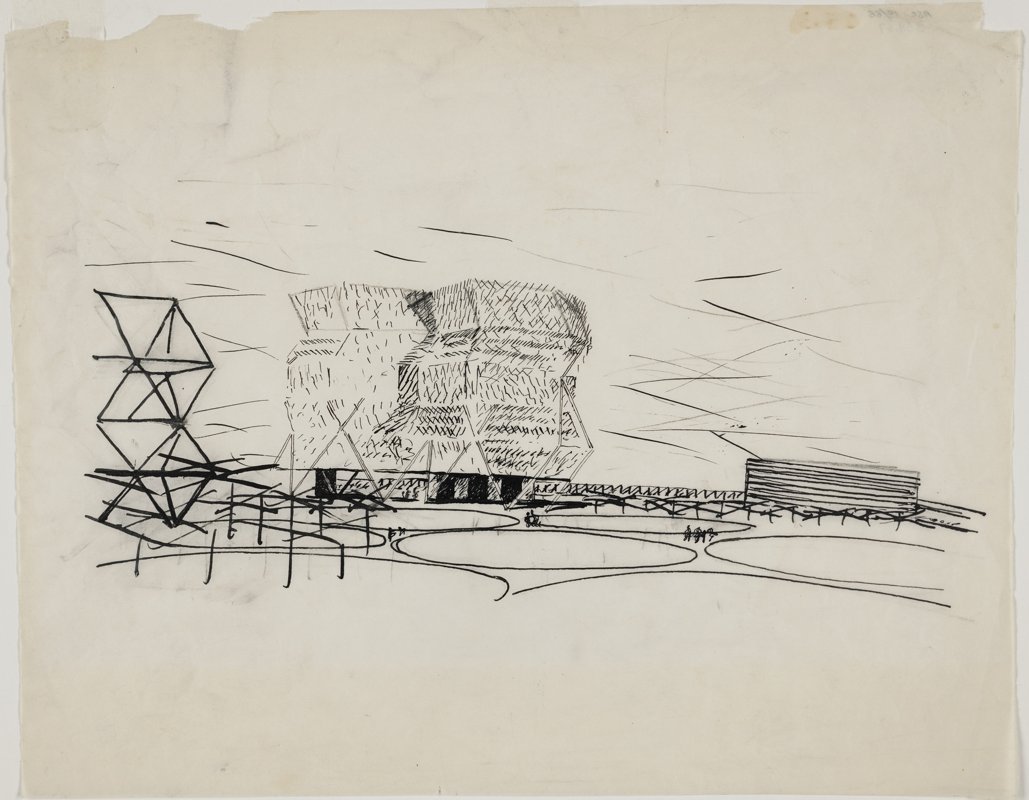 Louis I. Kahn. City Tower, project, Philadelphia, Pennsylvania, Perspective. 1952-53