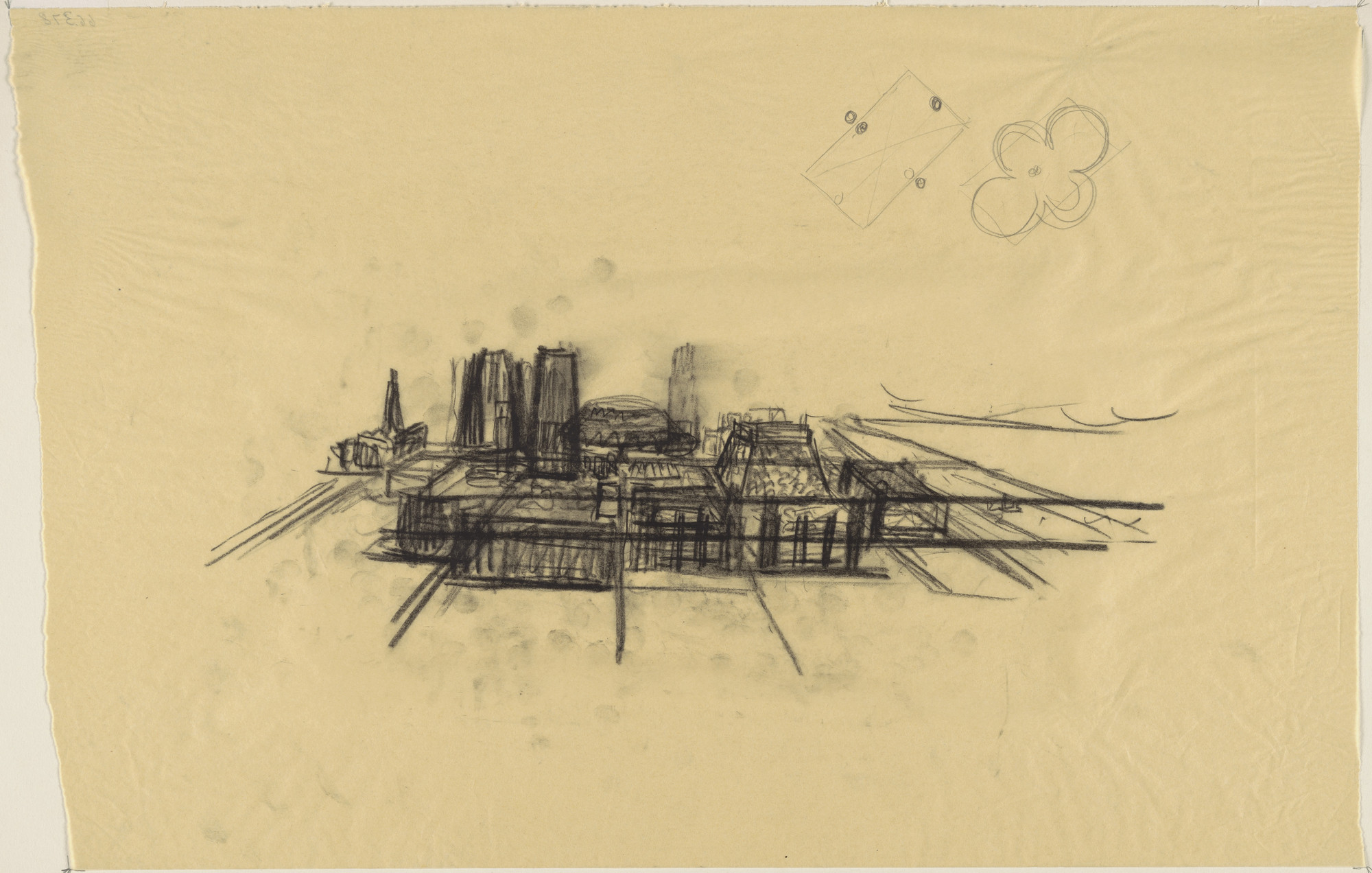 Louis I. Kahn. Civic Center Studies, project, Philadelphia, Pennsylvania, Aerial perspective sketch. 1957