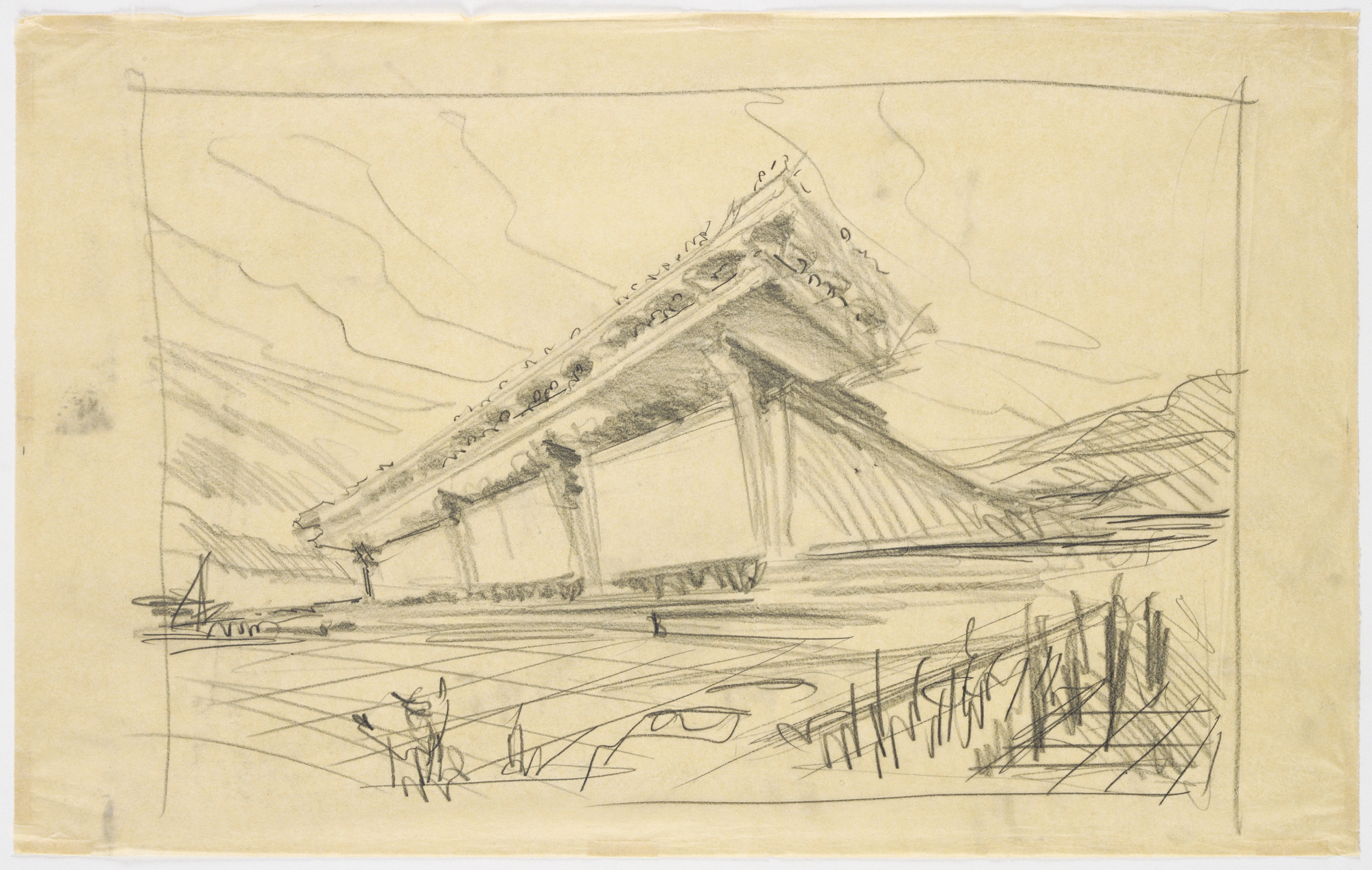 Eero Saarinen. Athens Airport project, Greece (Exterior perspective). c.1960