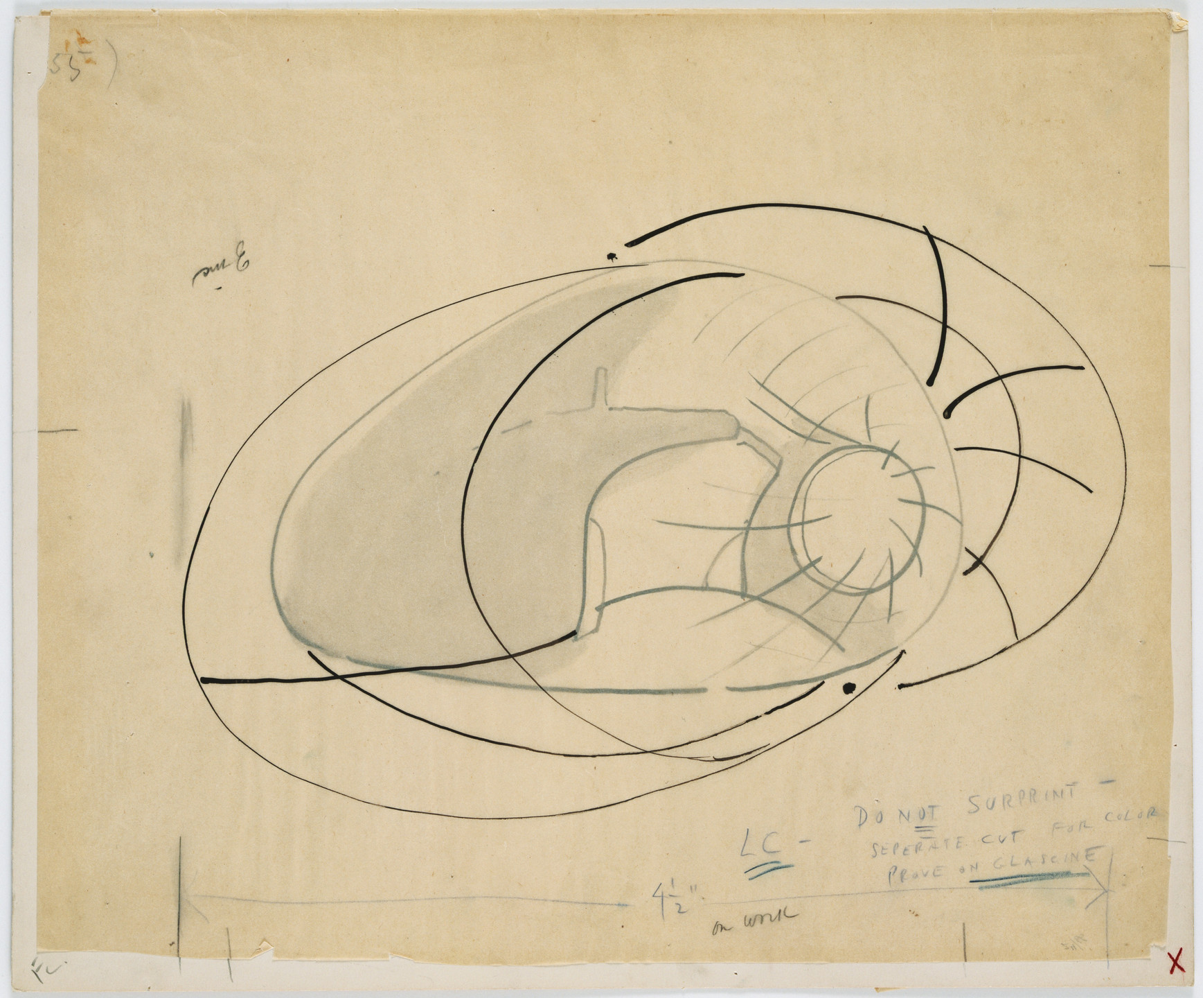 Frederick Kiesler. Endless House Project, Interior perspective. 1951