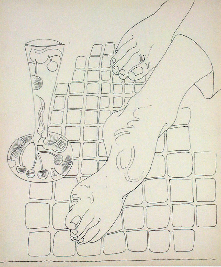 Andy Warhol. Untitled (Feet). (c. 1958)