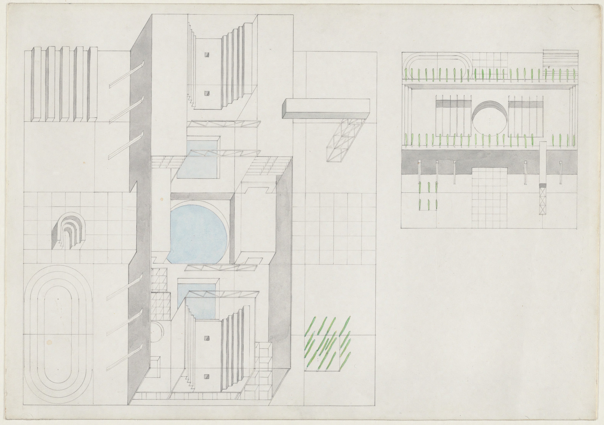 Rem Koolhaas, Elia Zenghelis, Madelon Vriesendorp, Zoe Zenghelis. Exodus, or the Voluntary Prisoners of Architecture: The Baths (Axonometric projection). 1972