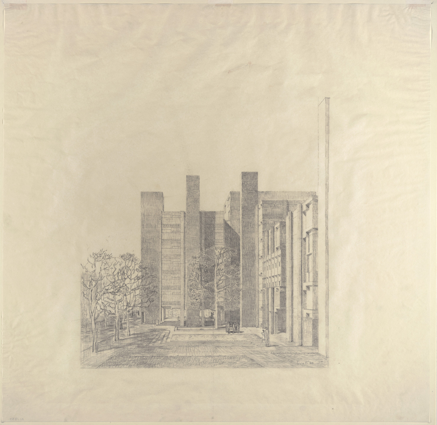 Louis I. Kahn. Alfred Newton Richards Medical Research Building and Biology Building, University of Pennsylvania, Philadelphia, Pennsylvania, Exterior perspective, final version. 1960