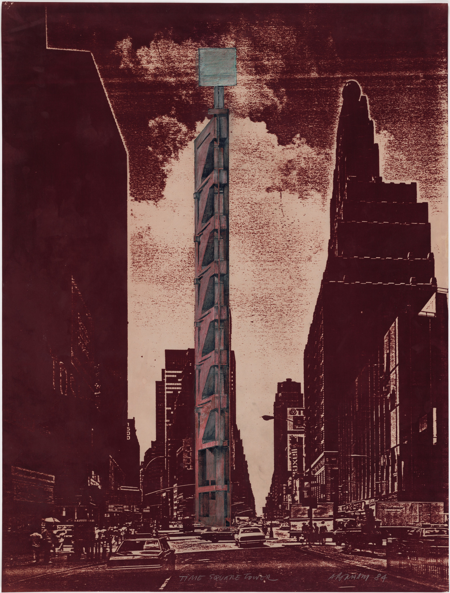 Raimund Abraham. Times Square Tower Project, New York, NY (Exterior perspective). 1984