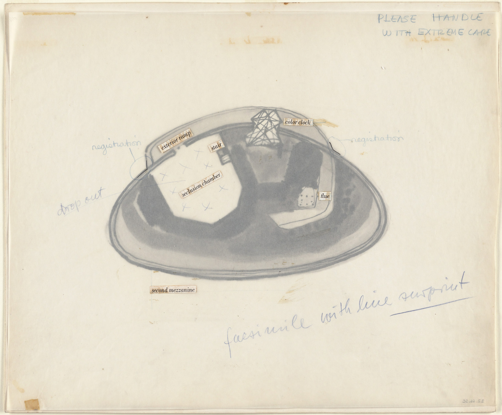 Frederick Kiesler. Endless House Project, Plan of second mezzanine. 1951