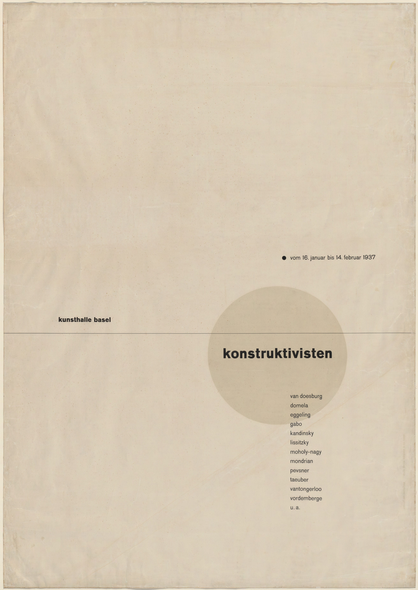Jan Tschichold. Die Konstruktivisten (The Constructivists) (Poster for exhibition in the Kunsthalle Basel). 1937